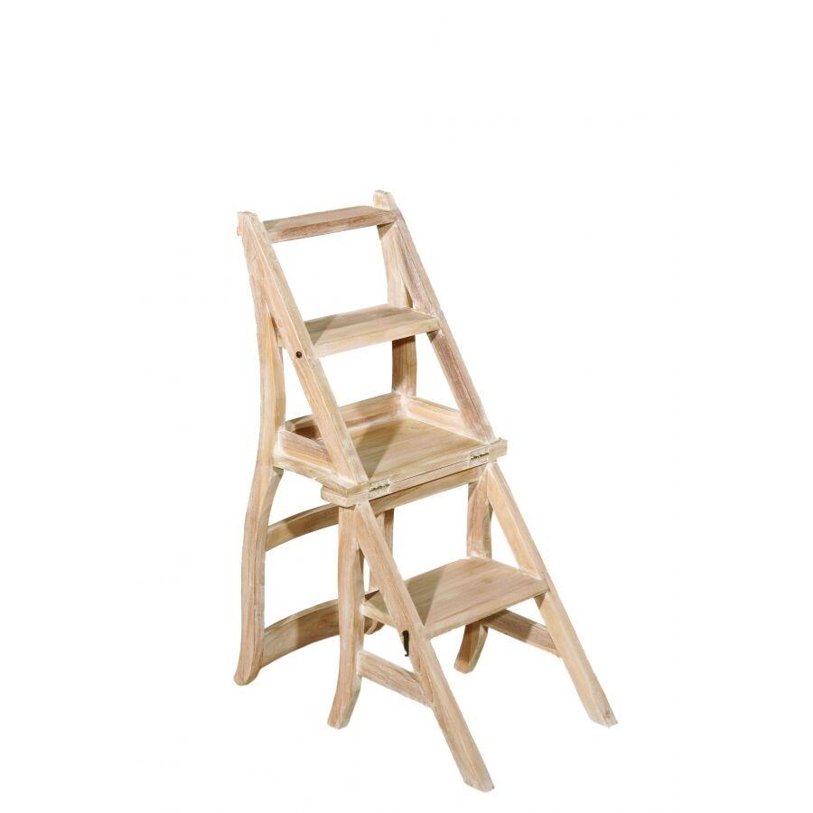 MACABANE Chaise libraire bois teck blanchi