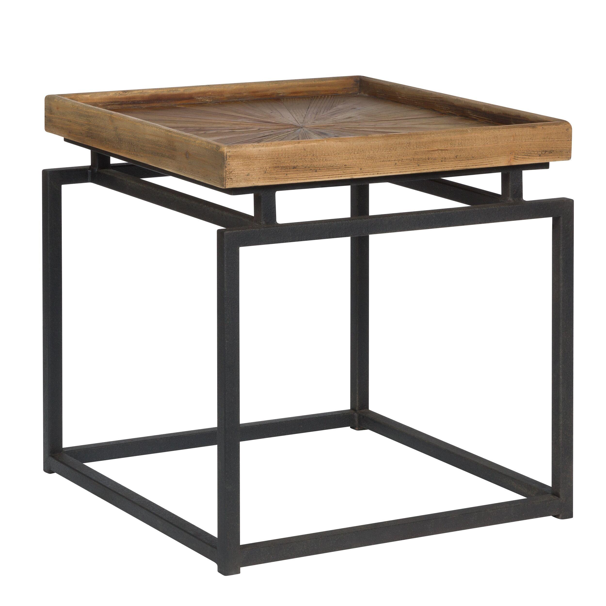 Rendez vous déco Table basse carrée en bois recyclé et métal