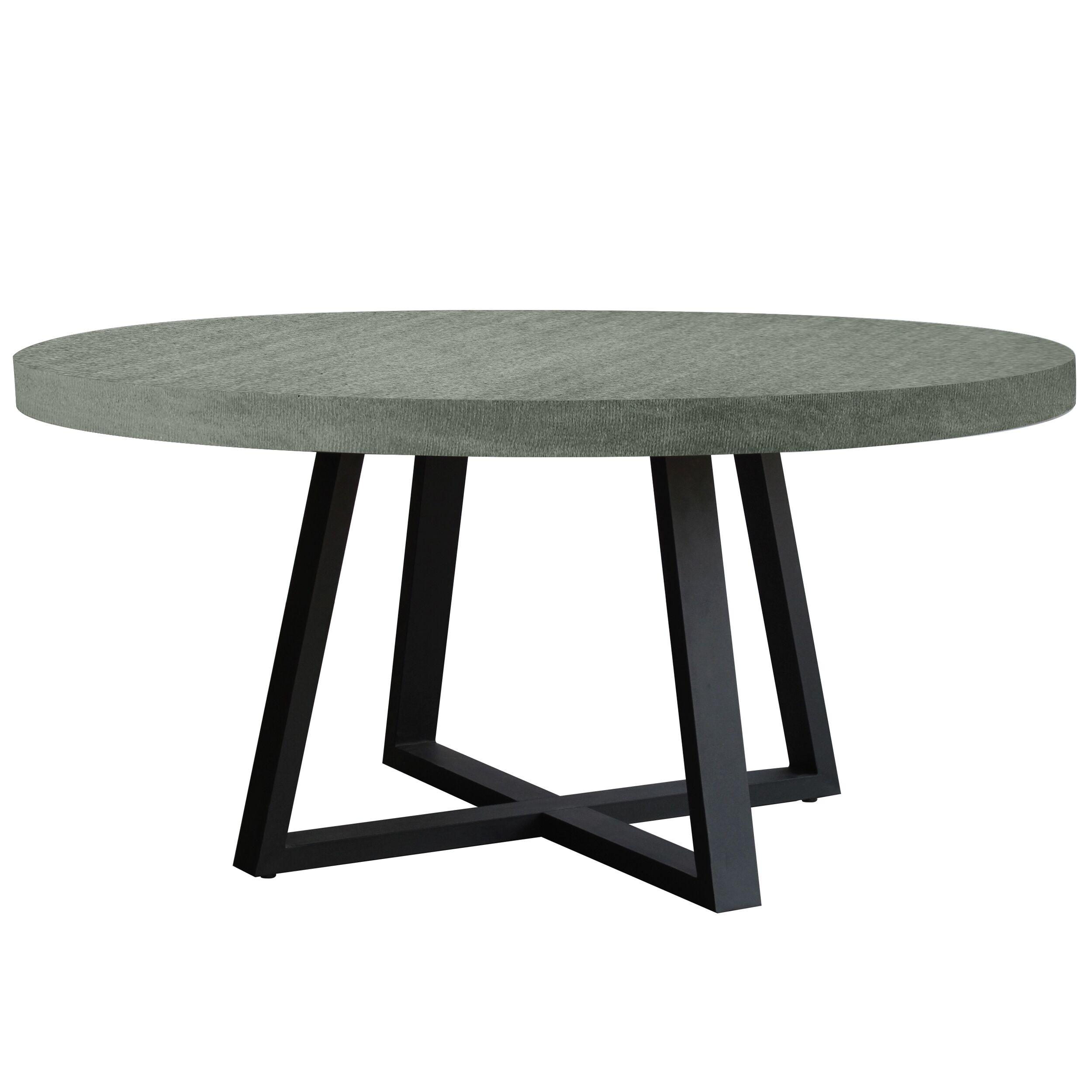 Rendez vous déco Table  manger ronde en lavastone gris, 6 personnes