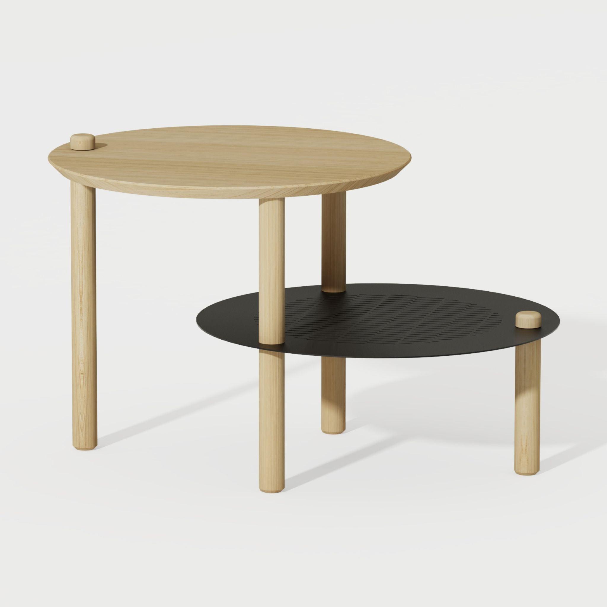 DIZY design Table de chevet avec 2 plateaux décalés en chne & métal noir