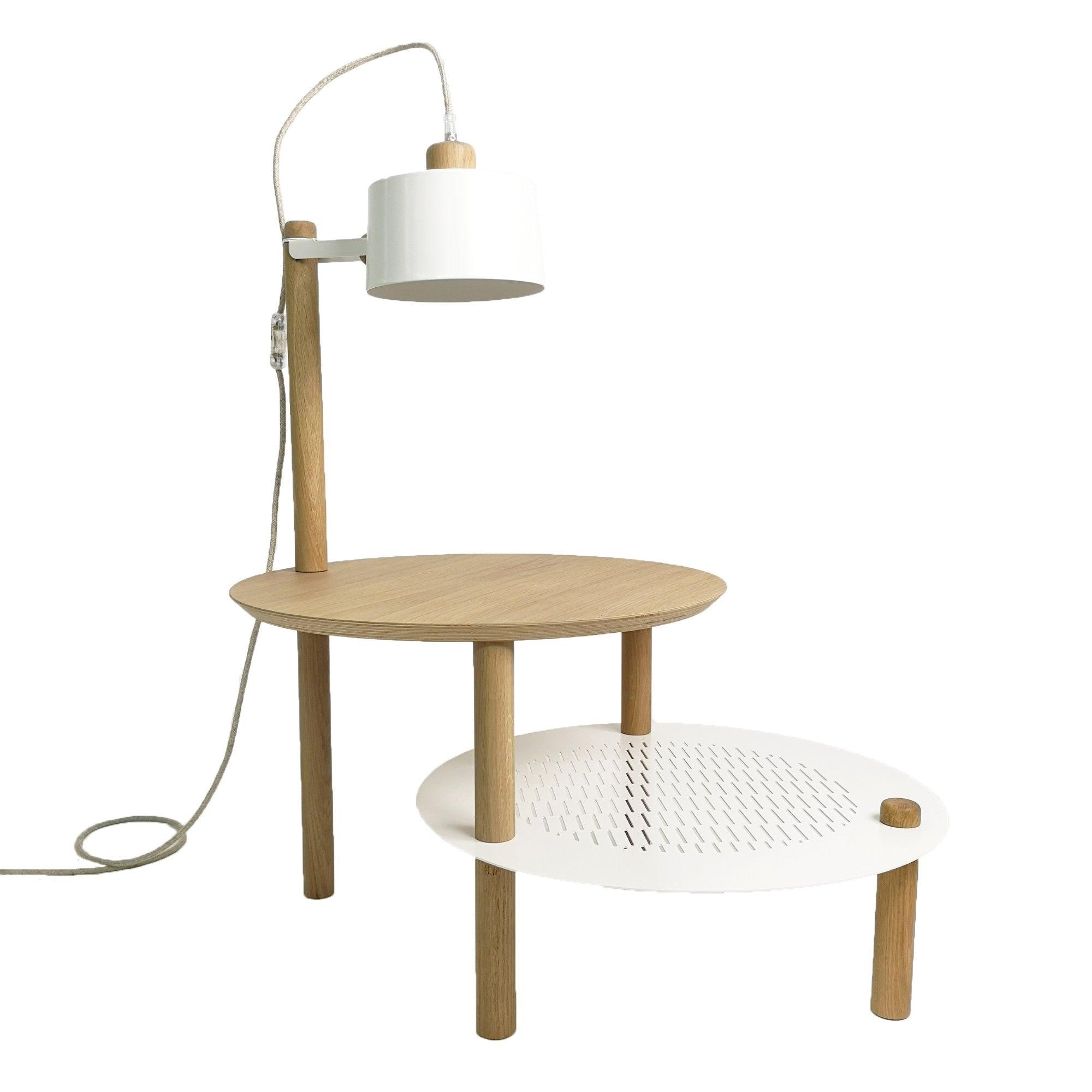 DIZY design Table d'appoint avec plateaux décalés, lampe en chne & métal blanc
