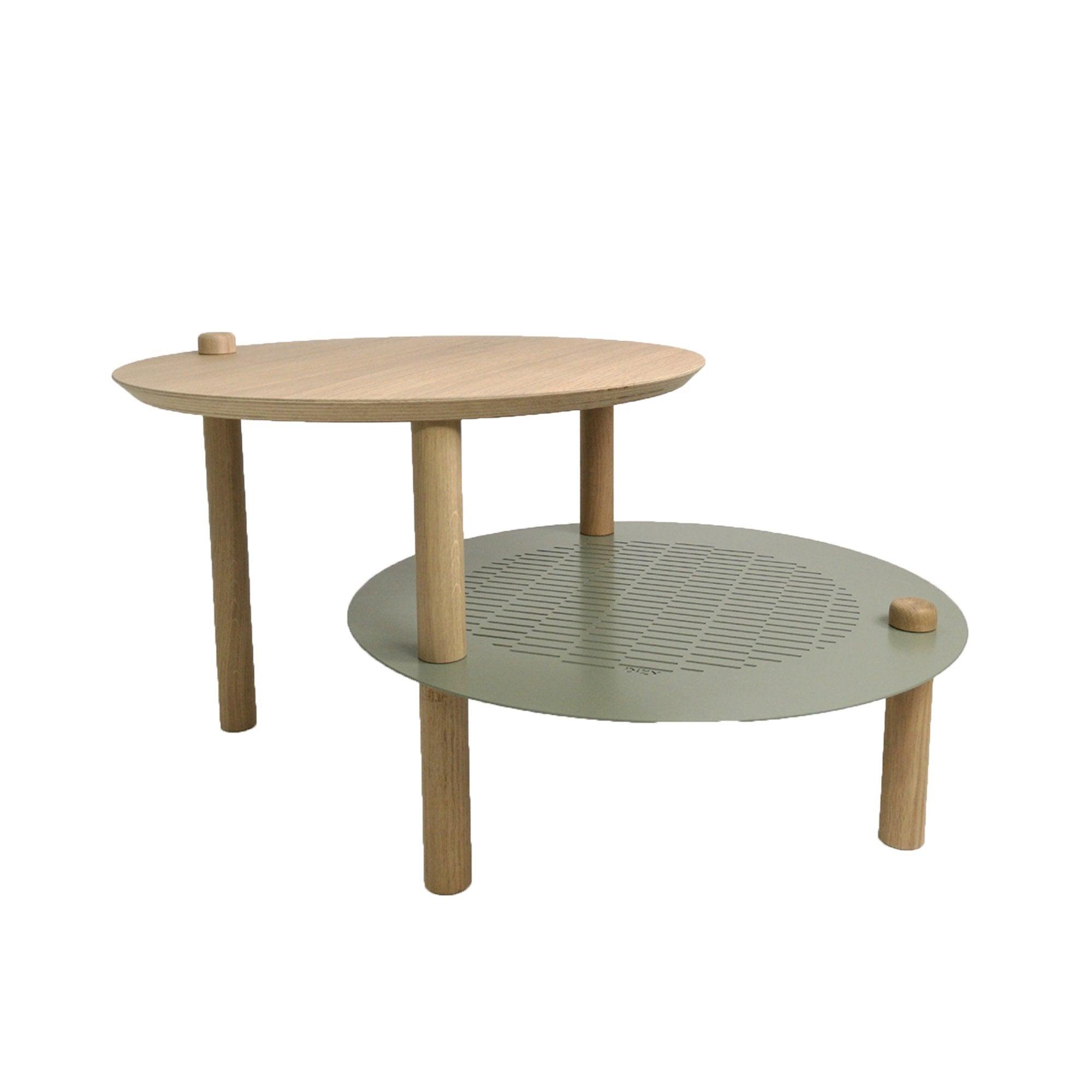 DIZY design Table de chevet avec 2 plateaux décalés en chne & métal vert