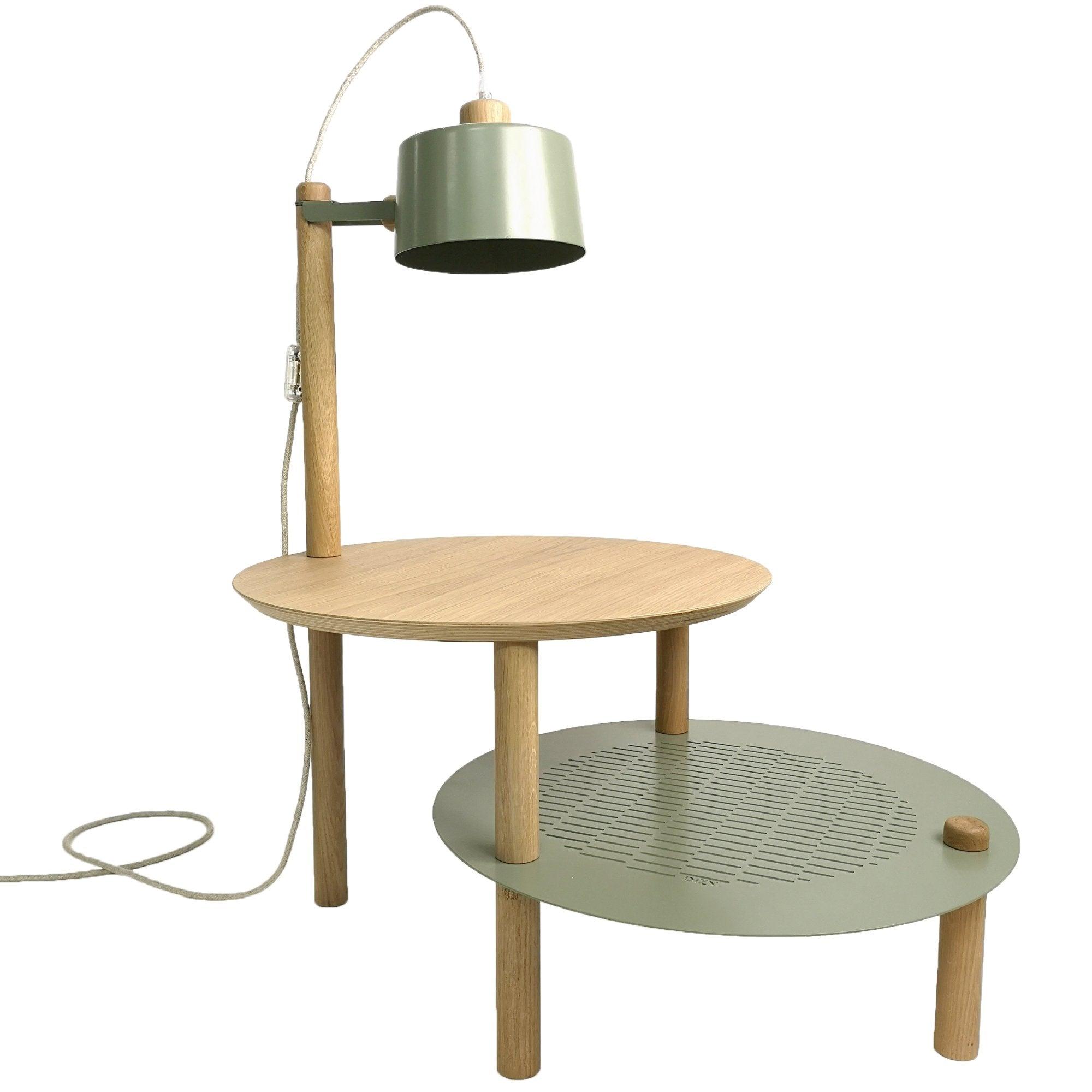 DIZY design Table d'appoint avec plateaux décalés, lampe en chne & métal vert