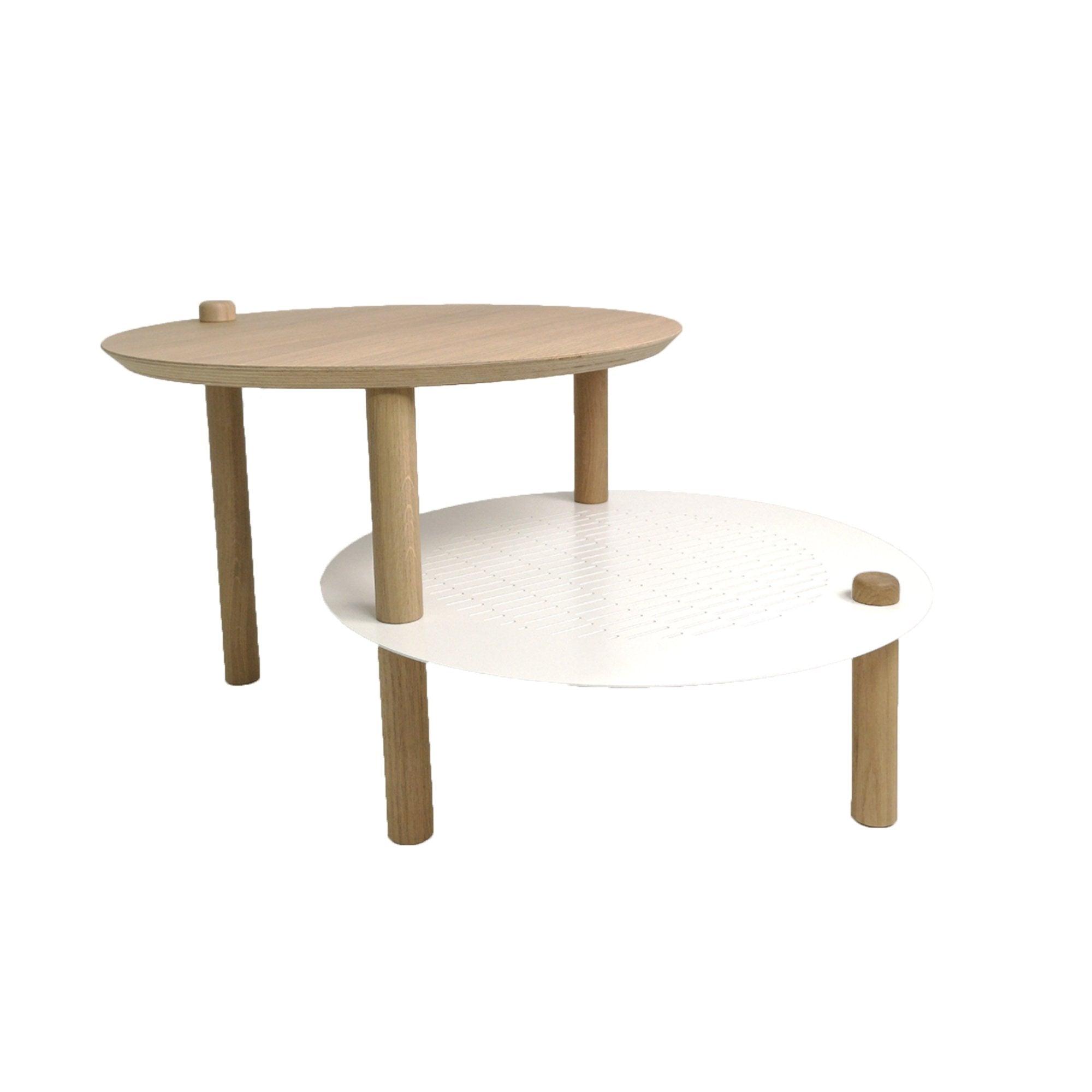 DIZY design Table de chevet avec 2 plateaux décalés en chne & métal blanc