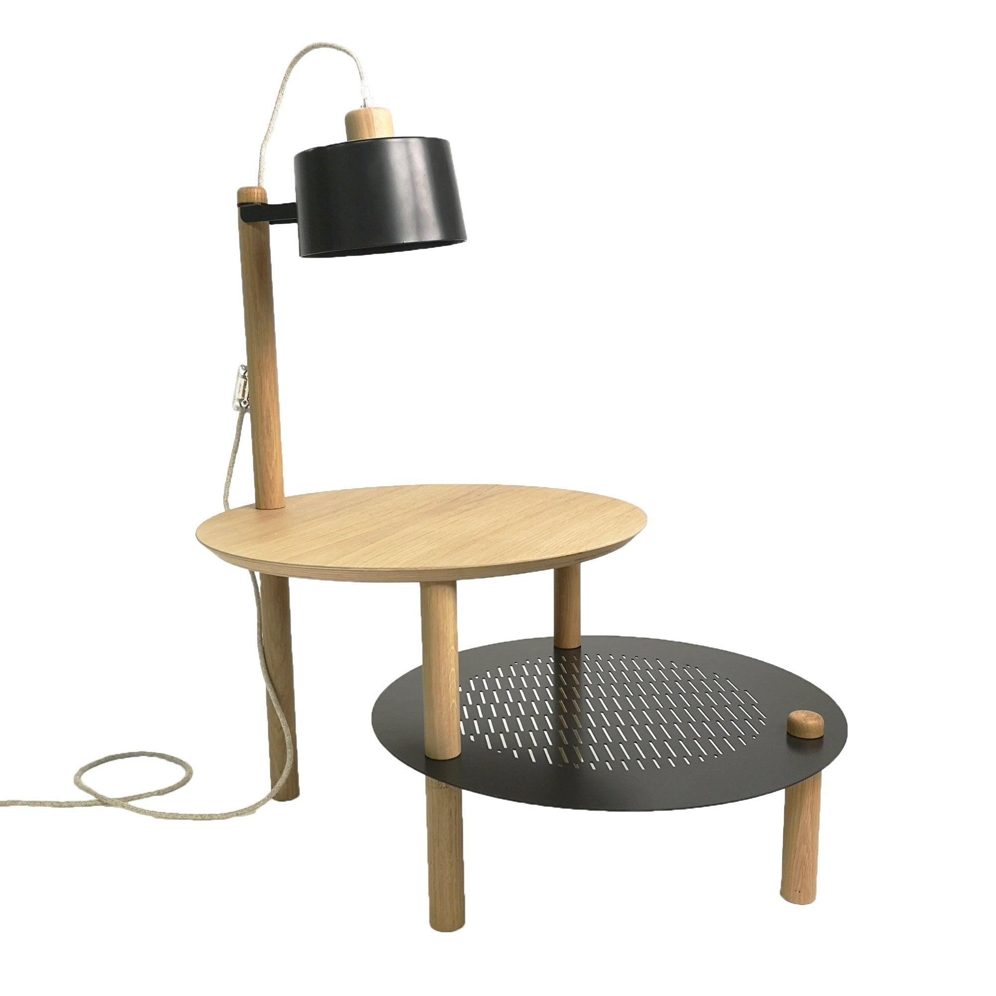 DIZY design Table d'appoint avec plateaux décalés, lampe en chne & métal noir