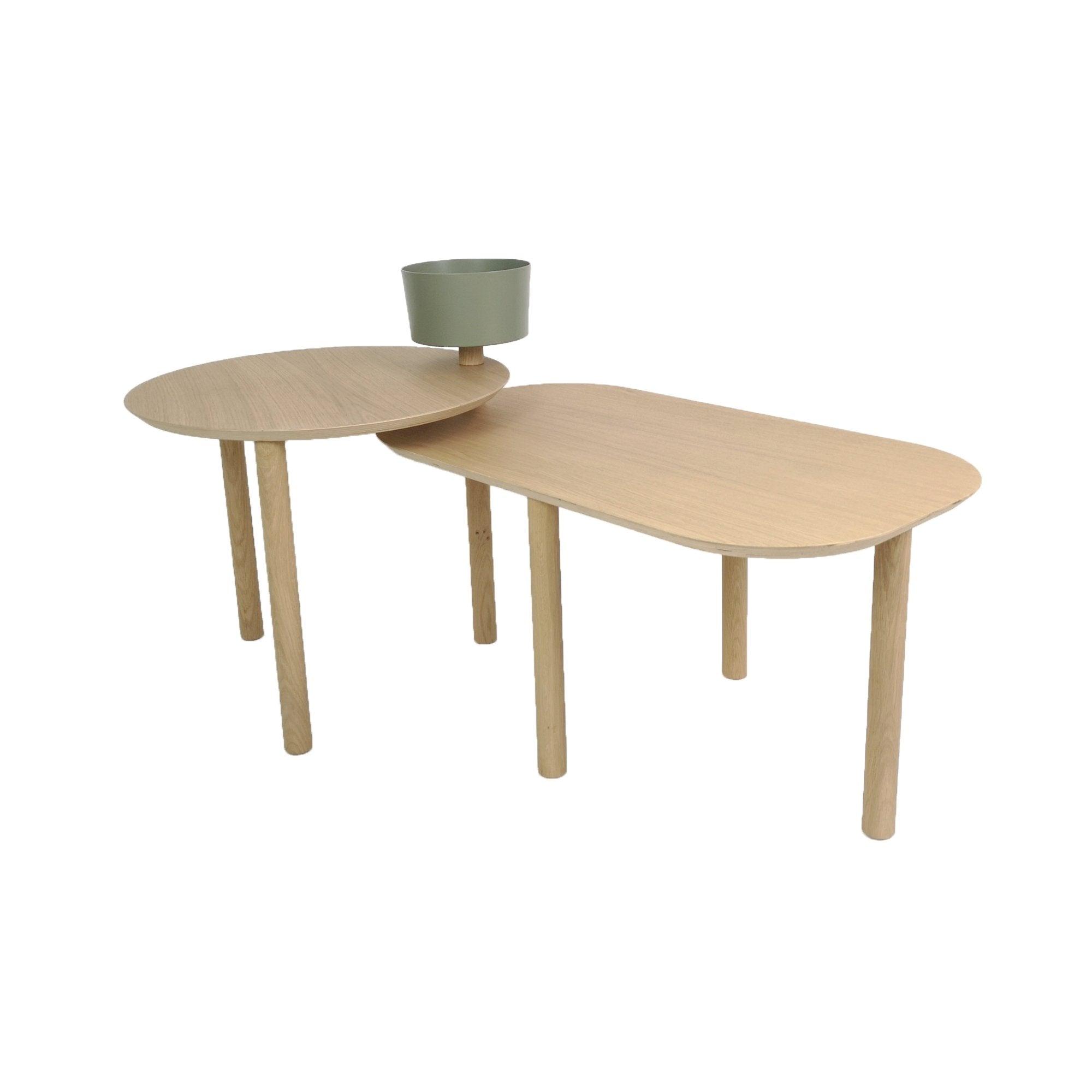 DIZY design Table basse avec un bol et plateau pivotant en chne et métal vert