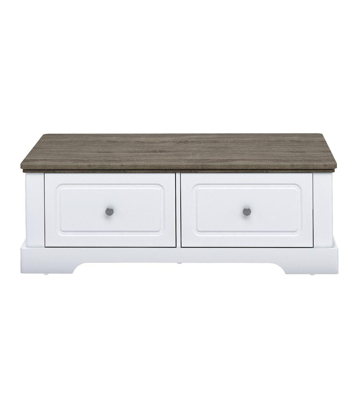Calicosy Table basse en bois avec 2 grands tiroirs L114,5cm - Blanc