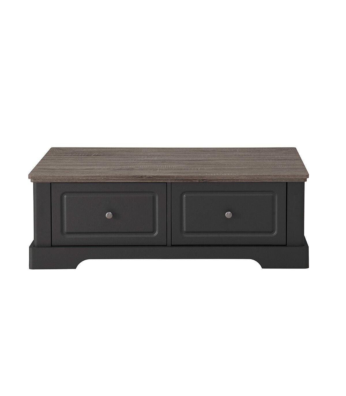 Calicosy Table basse en bois avec 2 grands tiroirs L114,5cm - Taupe