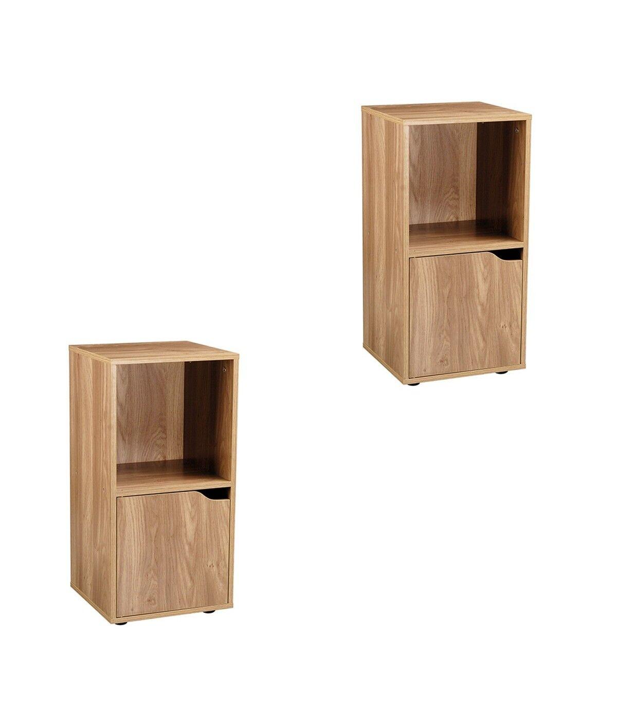 Casme Tables de chevet 2 cases décor bois 1 porte - lot de 2