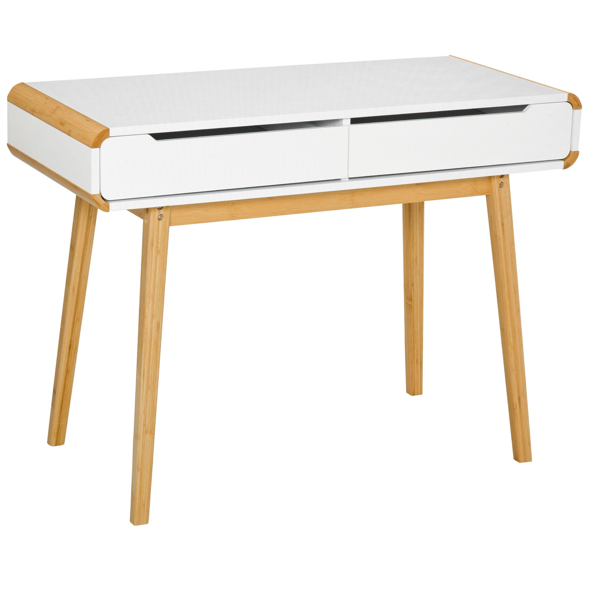 Homcom Bureau secrétaire style scandinave 2 tiroirs blanc bois massif bambou