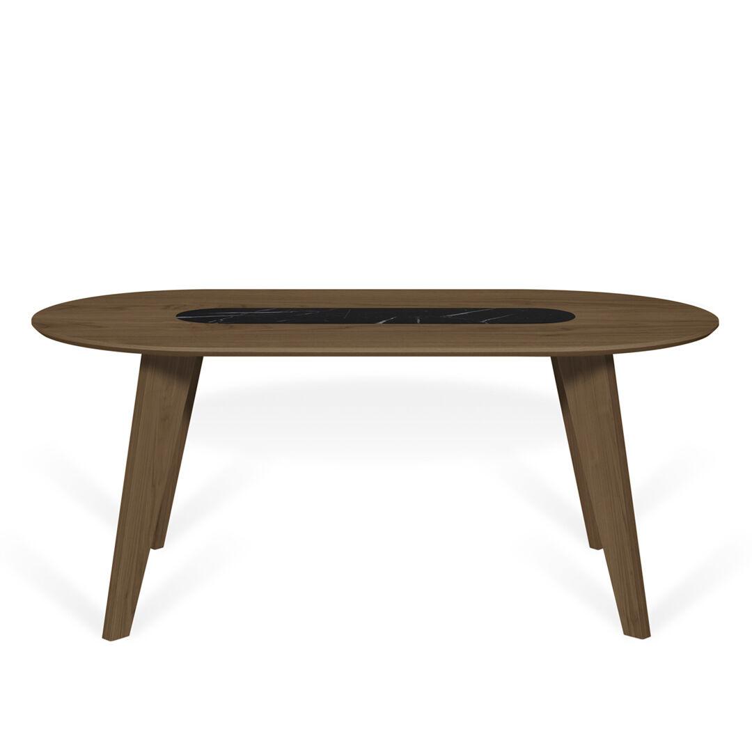 TEMAHOME Table  effet bois Noyer et Marbre blanc 4 couverts