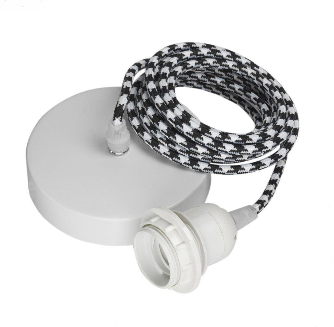 Hoopzi Suspension 1 fil électrique en tissu pied poule noir blanc 3m