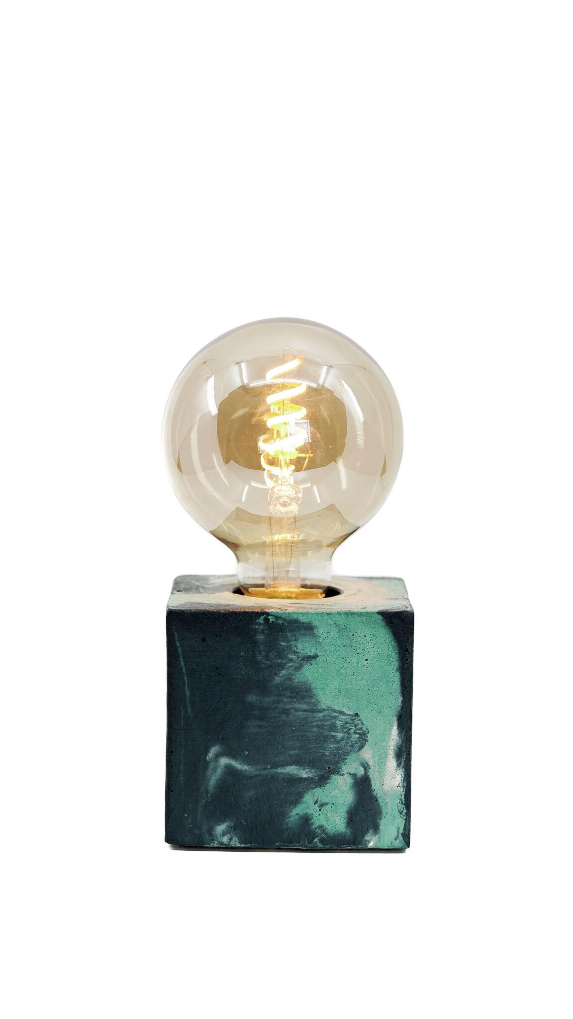Junny Lampe cube marbré en béton turquoise & bleu