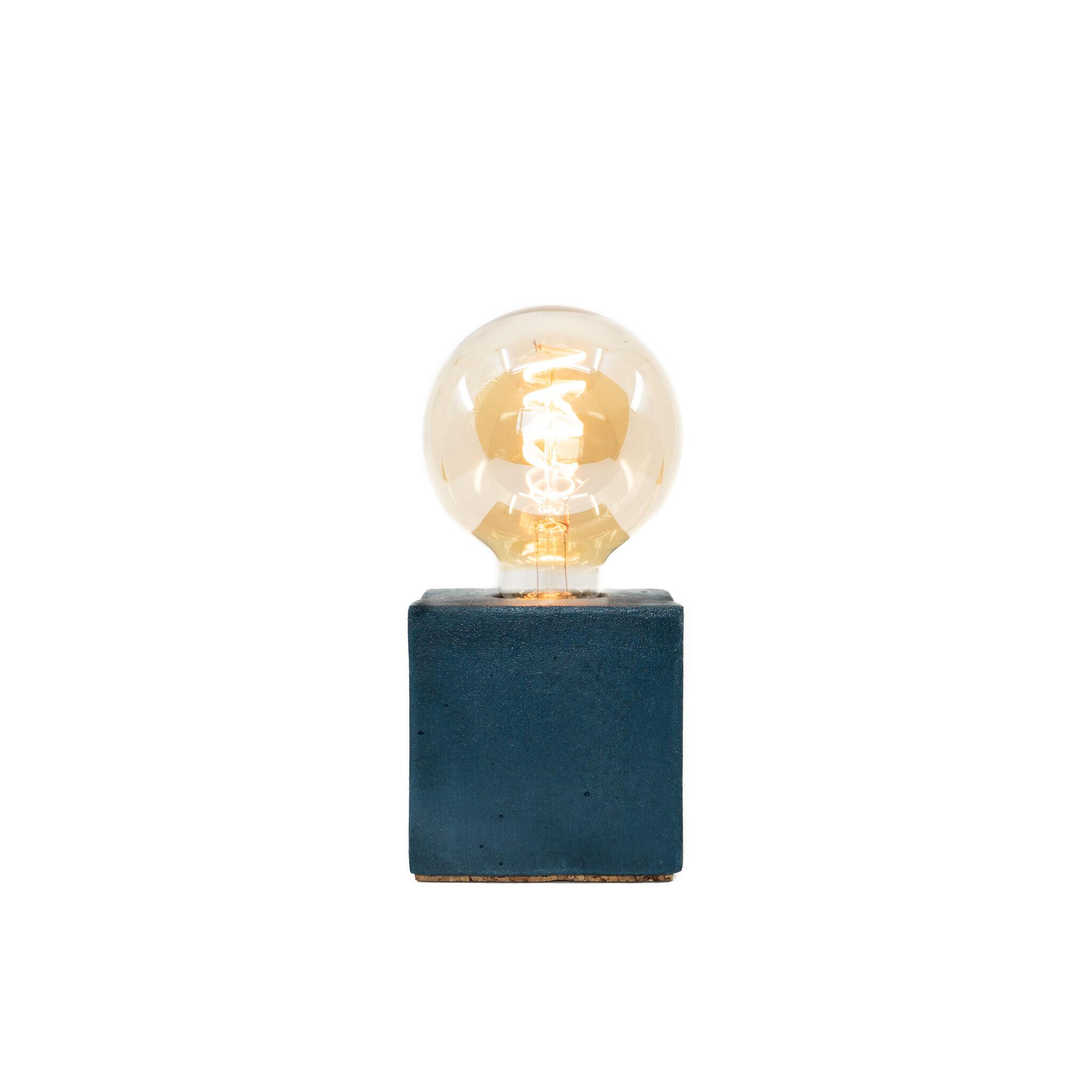 Junny Lampe cube en béton bleu pétrole fabrication artisanale