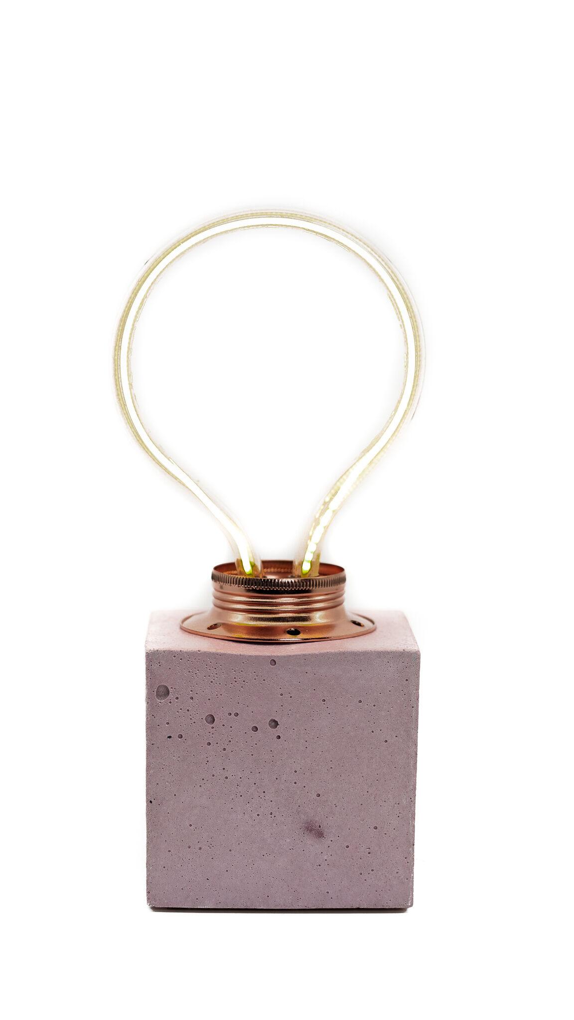 Junny Lampe cube néon en béton rose fabrication artisanale