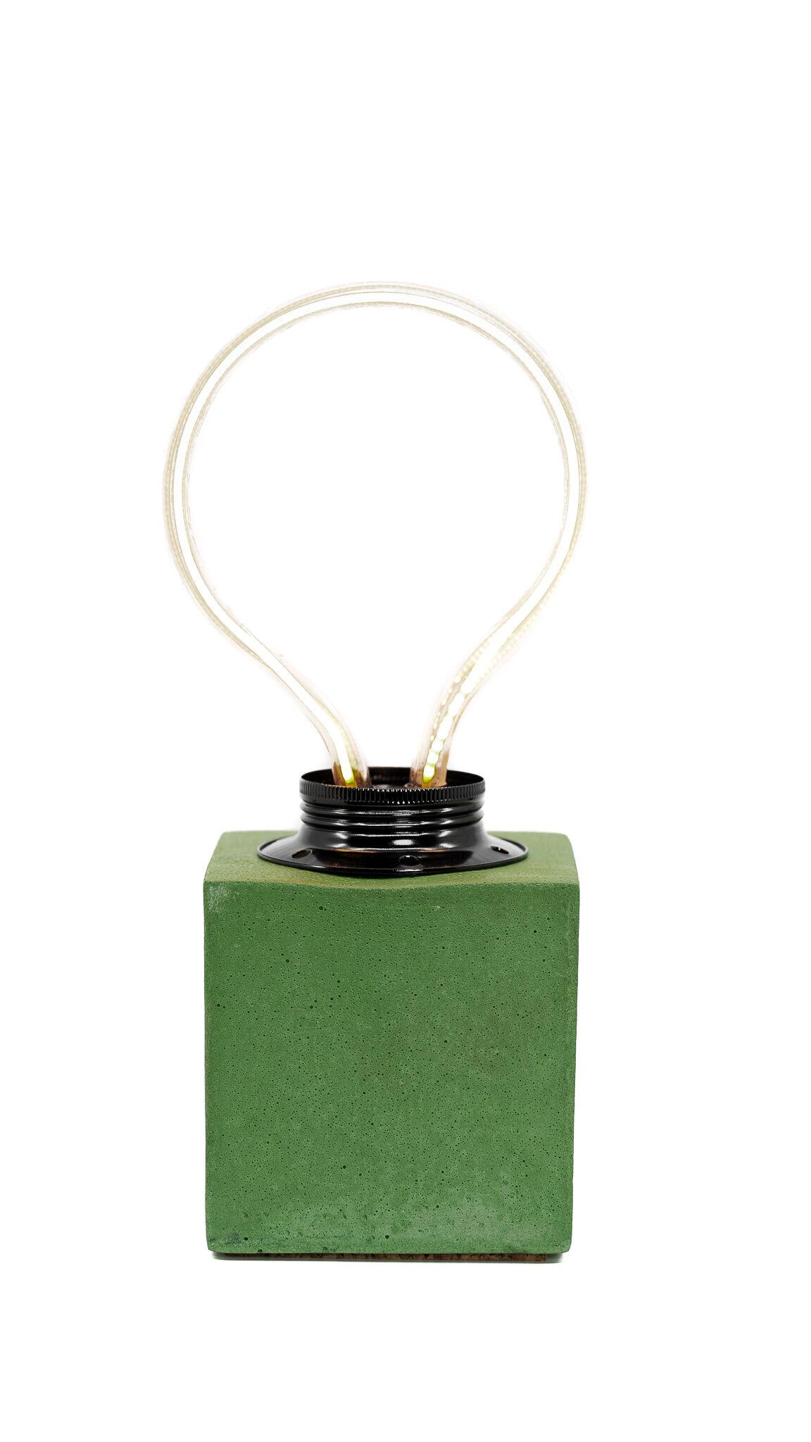 Junny Lampe cube néon en béton vert fabrication artisanale