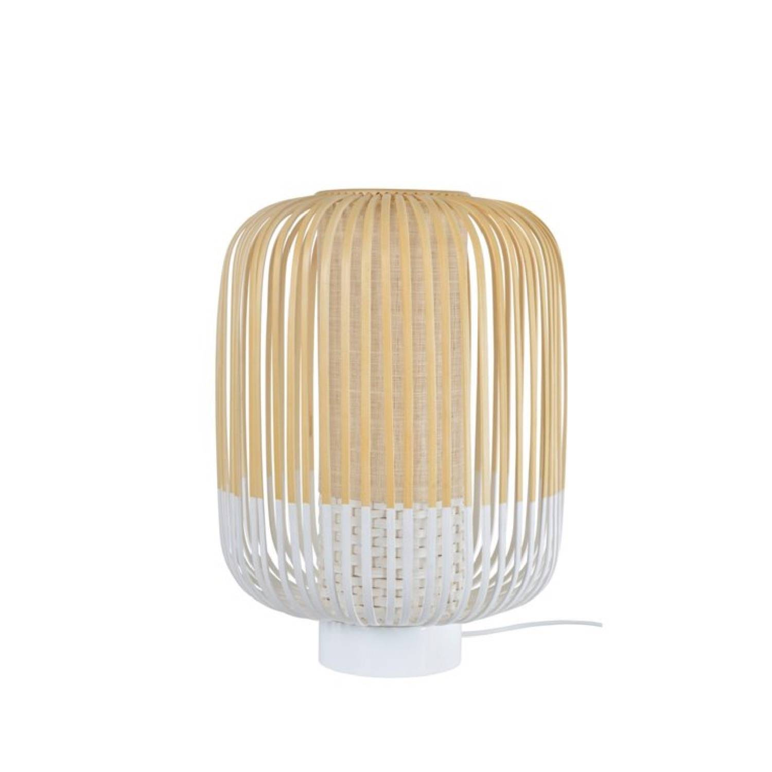 Forestier Lampe  poser bambou blanc H39cm
