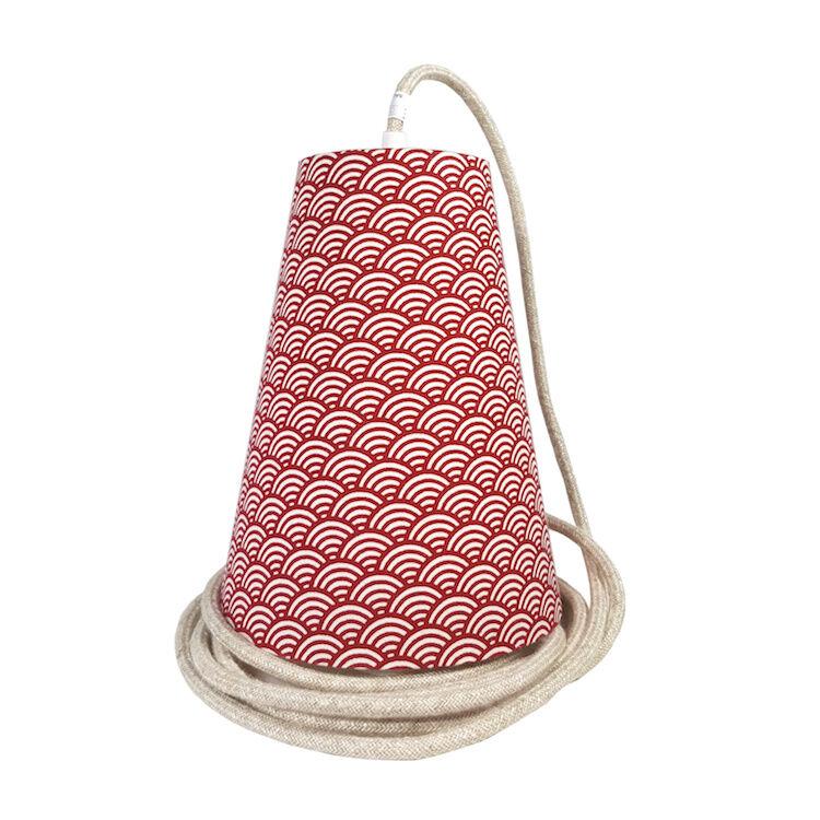 Ambiances & Toiles Suspension baladeuse seigaiha rouge/cordon textile lin nat., H 19cm