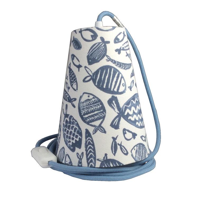 Ambiances & Toiles Suspension baladeuse poissons graphiques/cordon textile océan, H 19cm