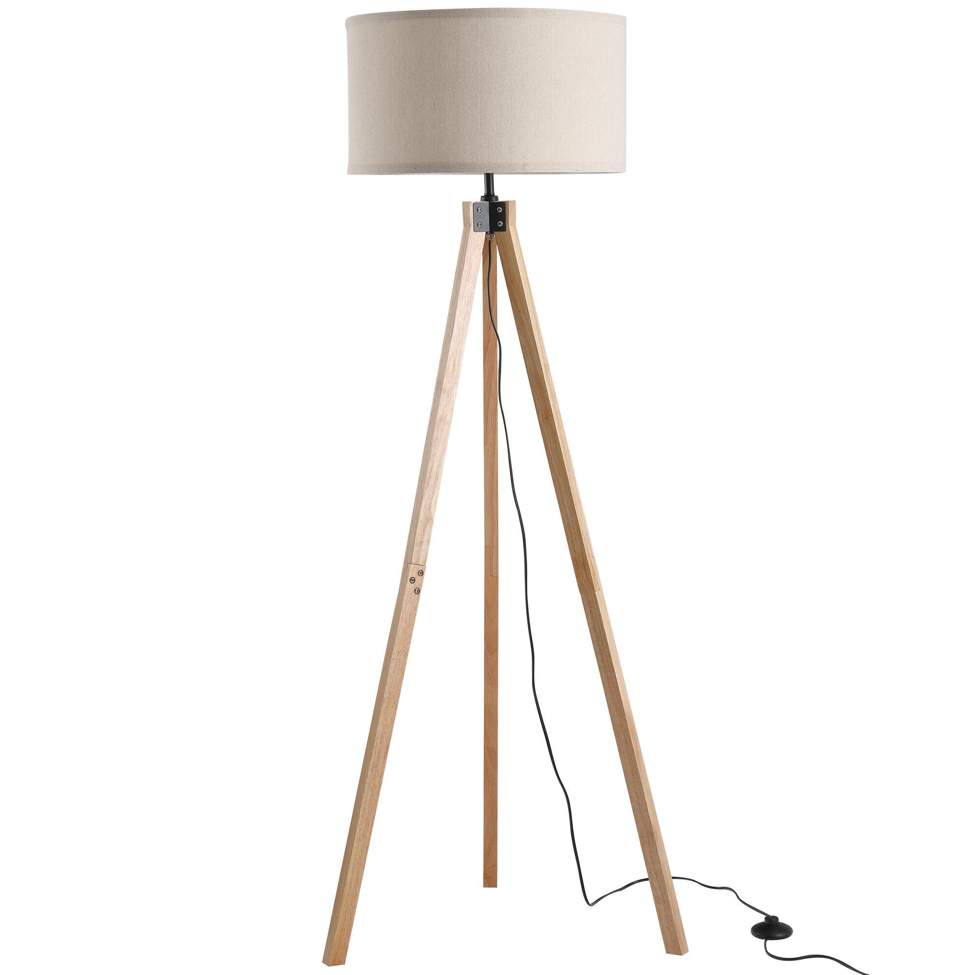 Homcom Lampadaire trépied style scandinave H152 cm bois de pin lin beige