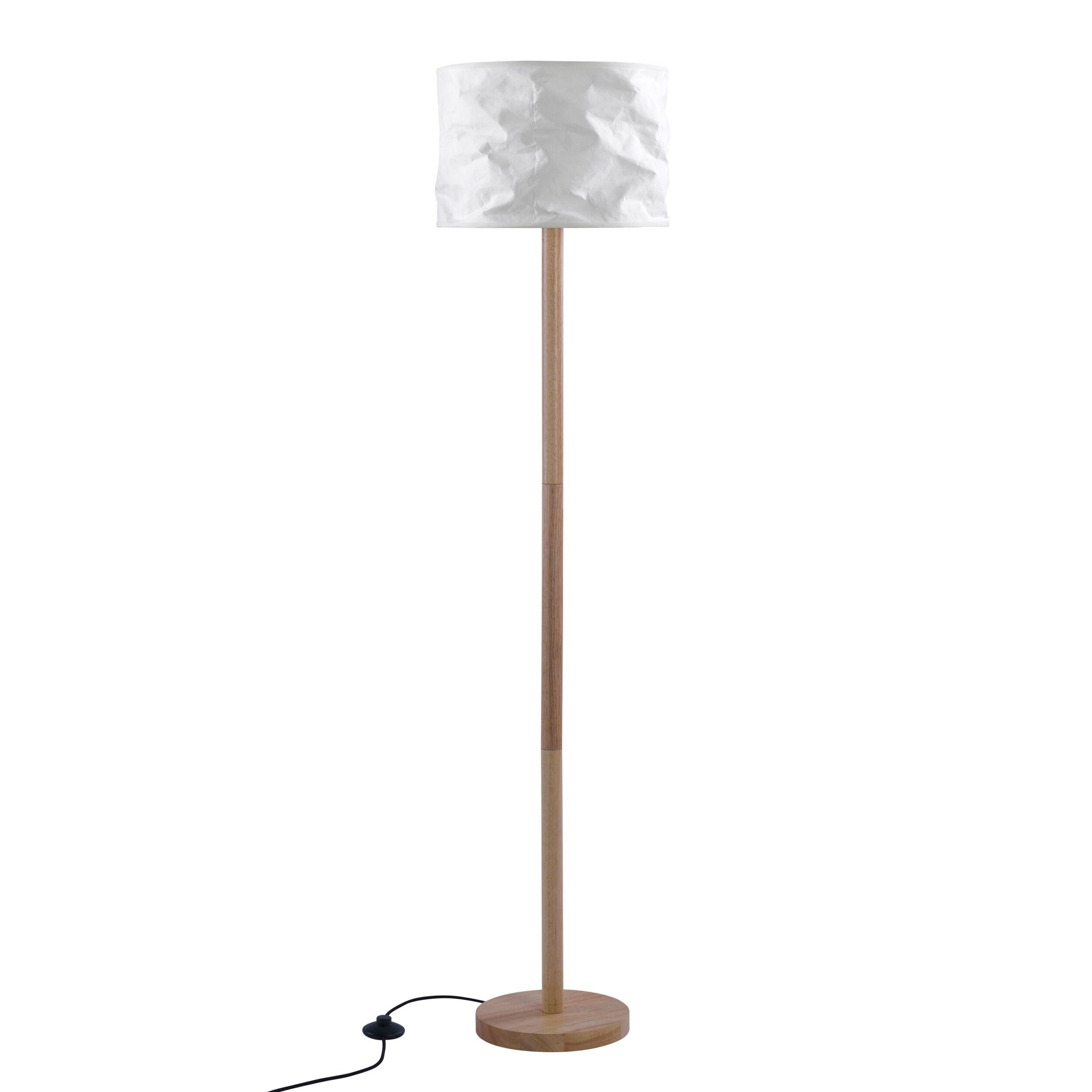 Rendez vous déco Lampadaire en papier blanc et bois d'hévéa