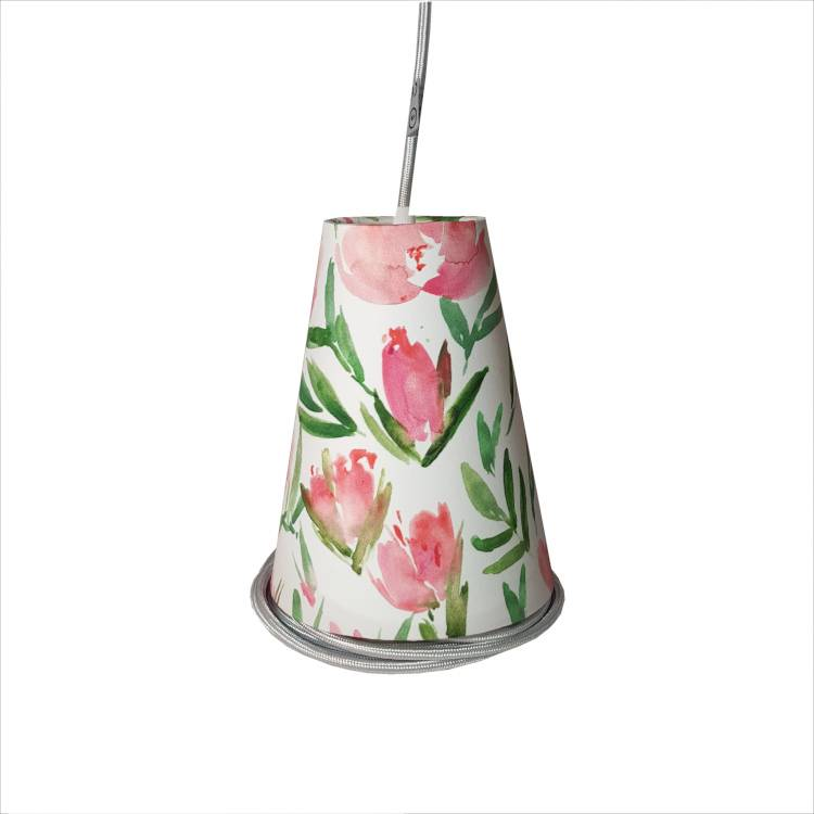 Ambiances & Toiles Suspension baladeuse tulipes roses/cordon textile argent, H 19cm