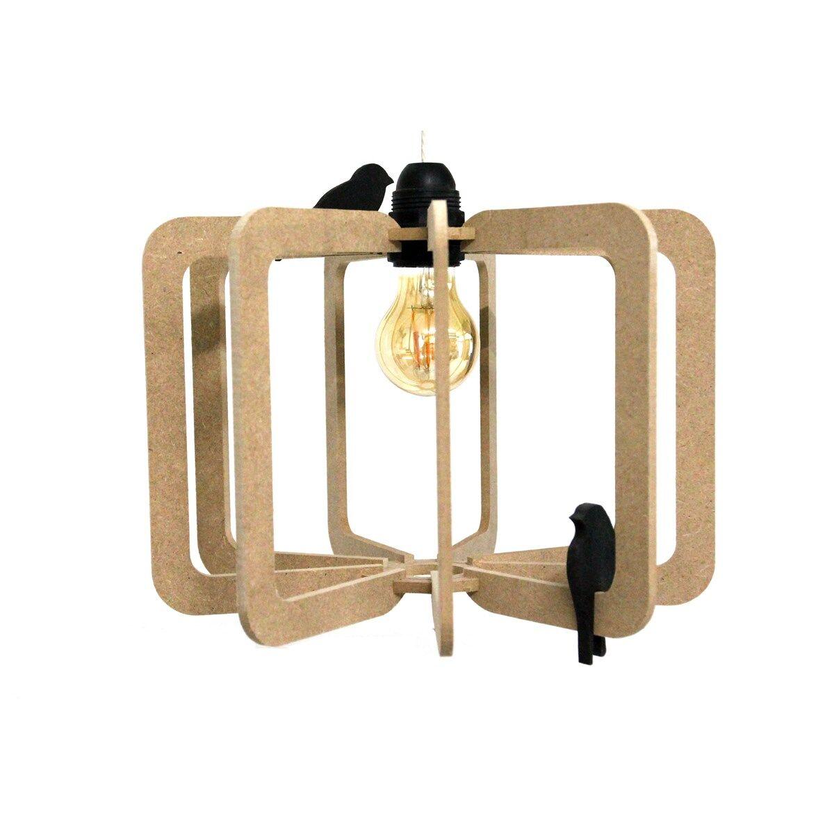 RIF Suspension bois design kit lin beige foncé