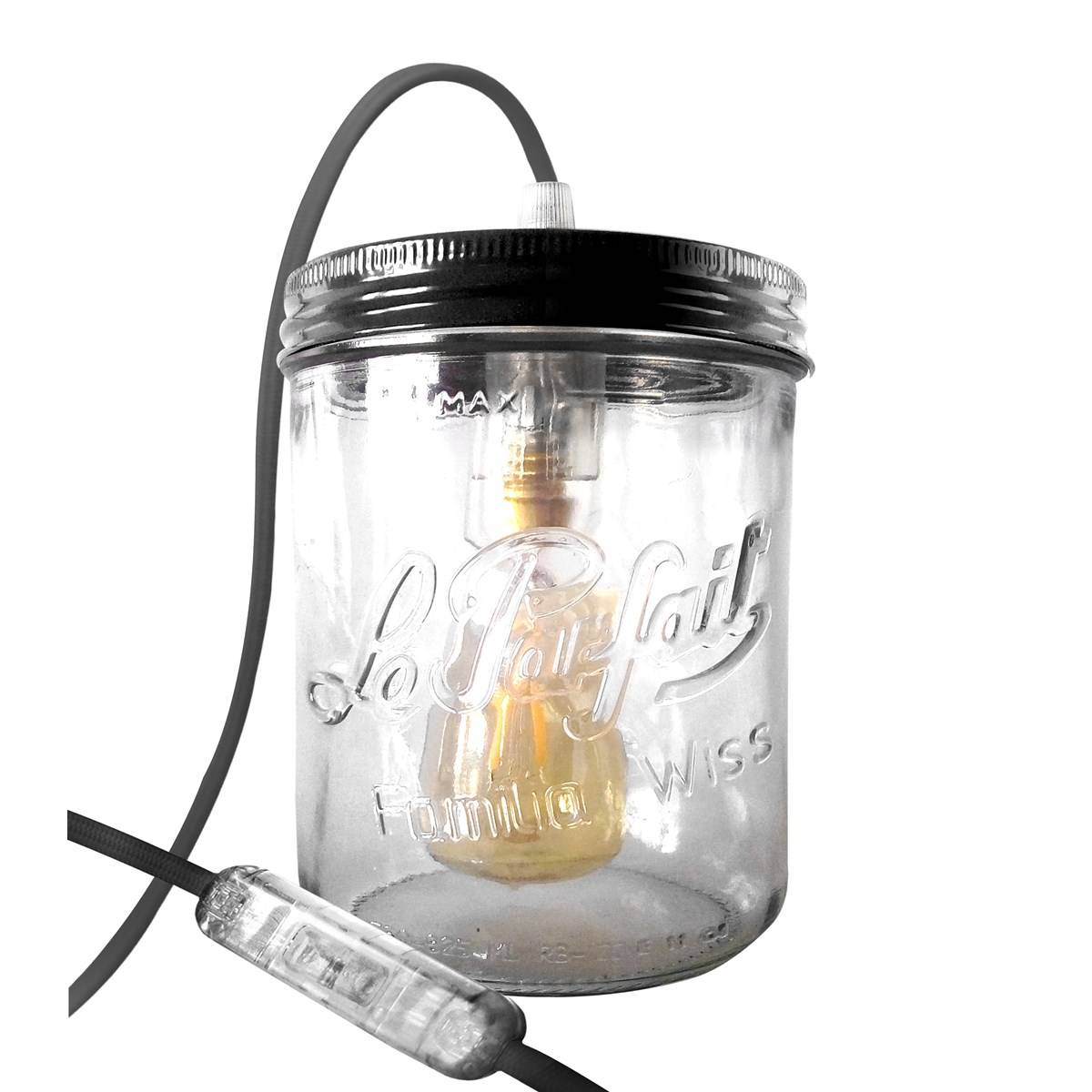 Fenel & Arno Lampe bocal en verre noir
