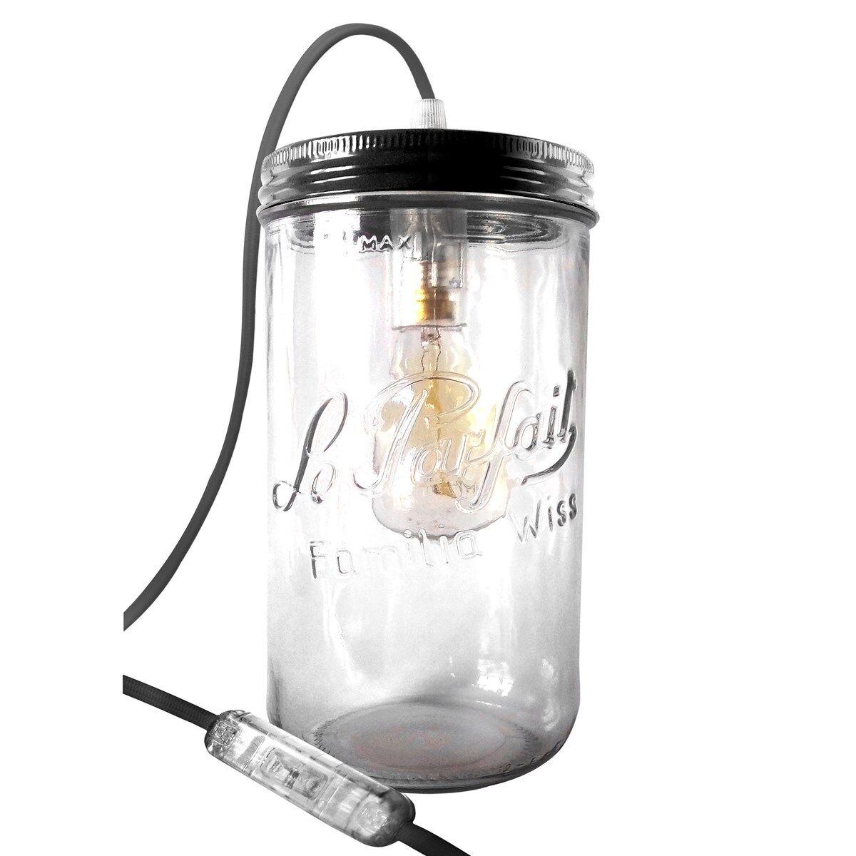 Fenel & Arno Lampe bocal XL en verre noir