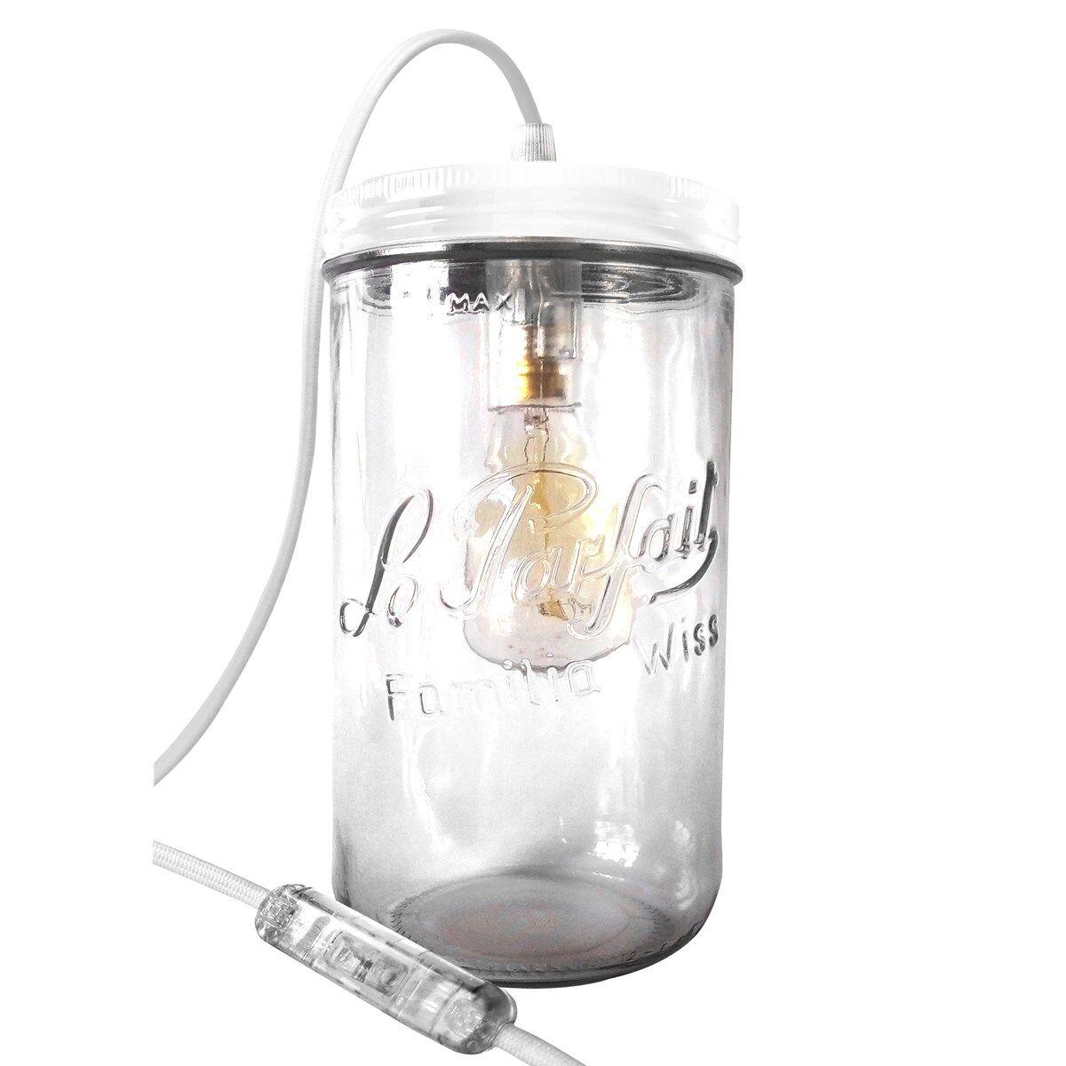 Fenel & Arno Lampe bocal XL en verre blanc