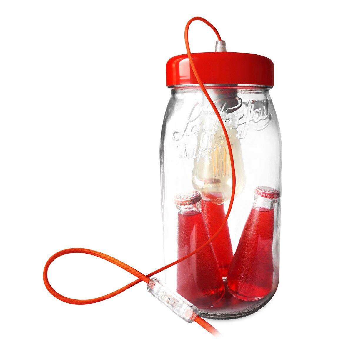 Fenel & Arno Lampe bocal en verre rouge