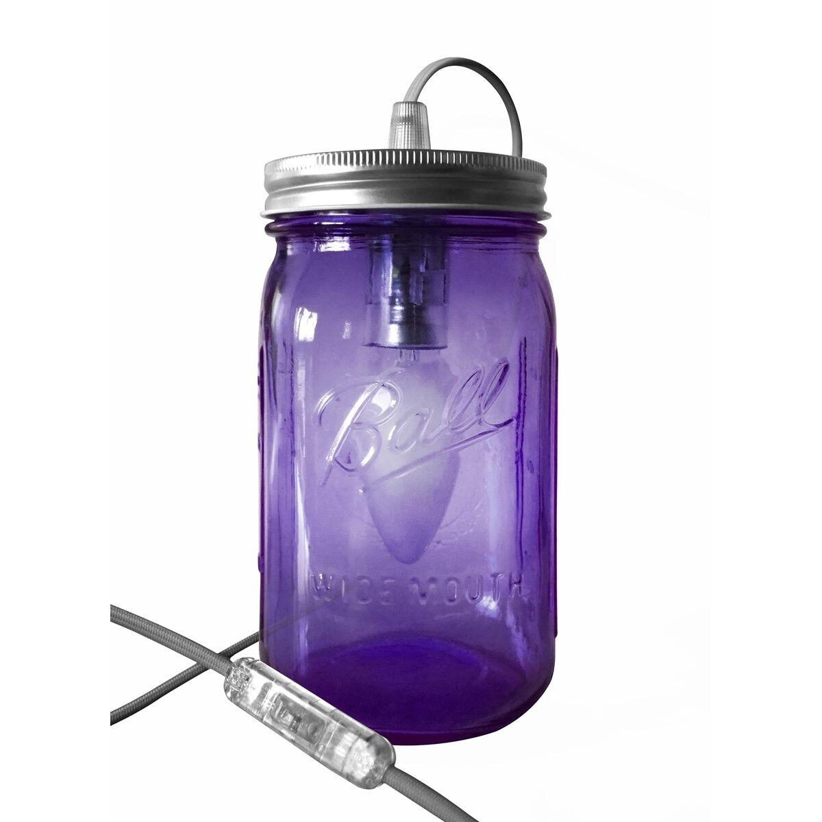 Fenel & Arno Lampe bocal en verre violet fil gris clair