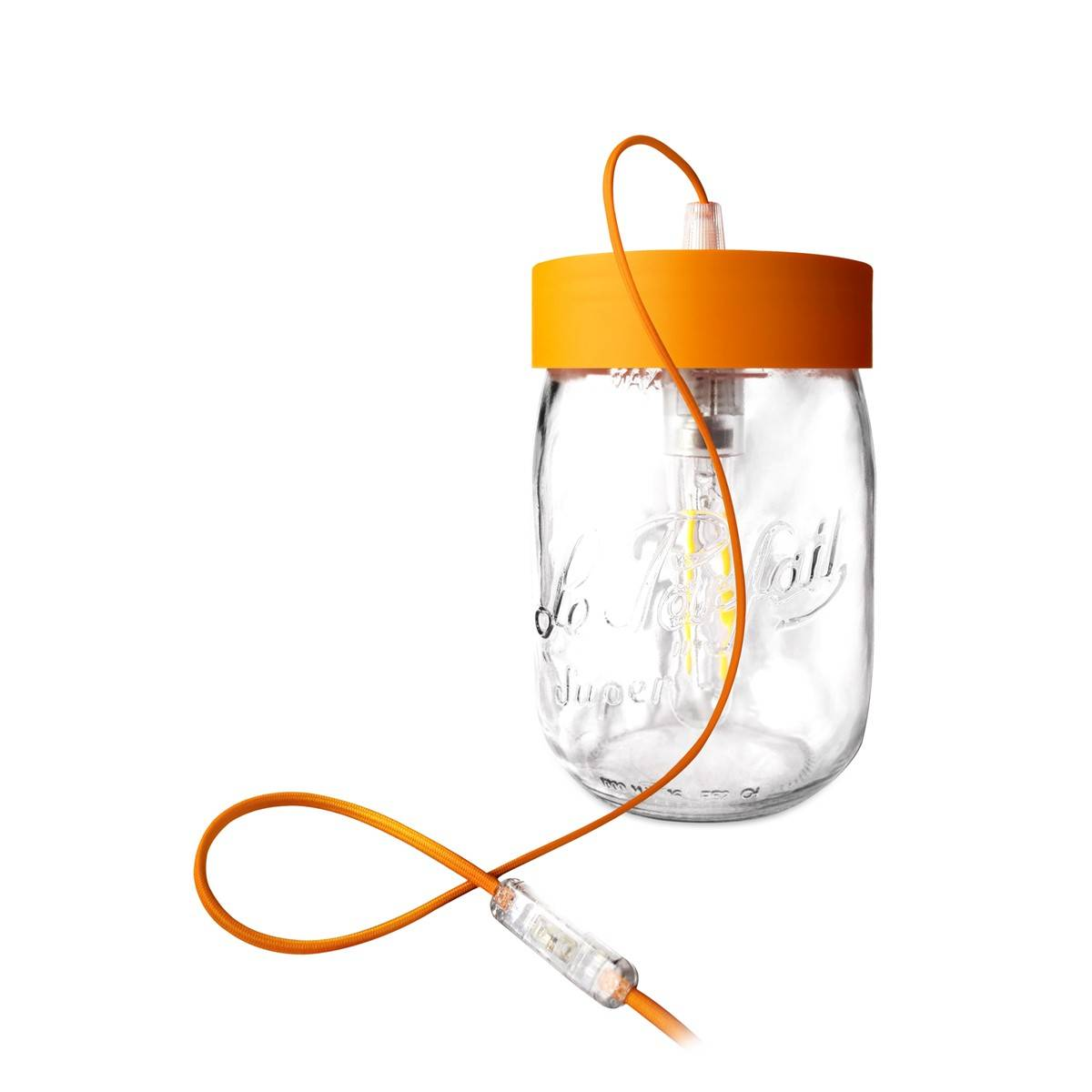 Fenel & Arno Lampe bocal en verre orange D20cm