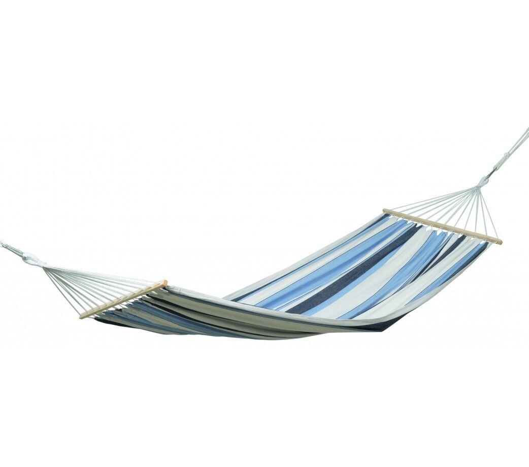 Amazonas Hamac simple  barre en tissu rayé bleu clair