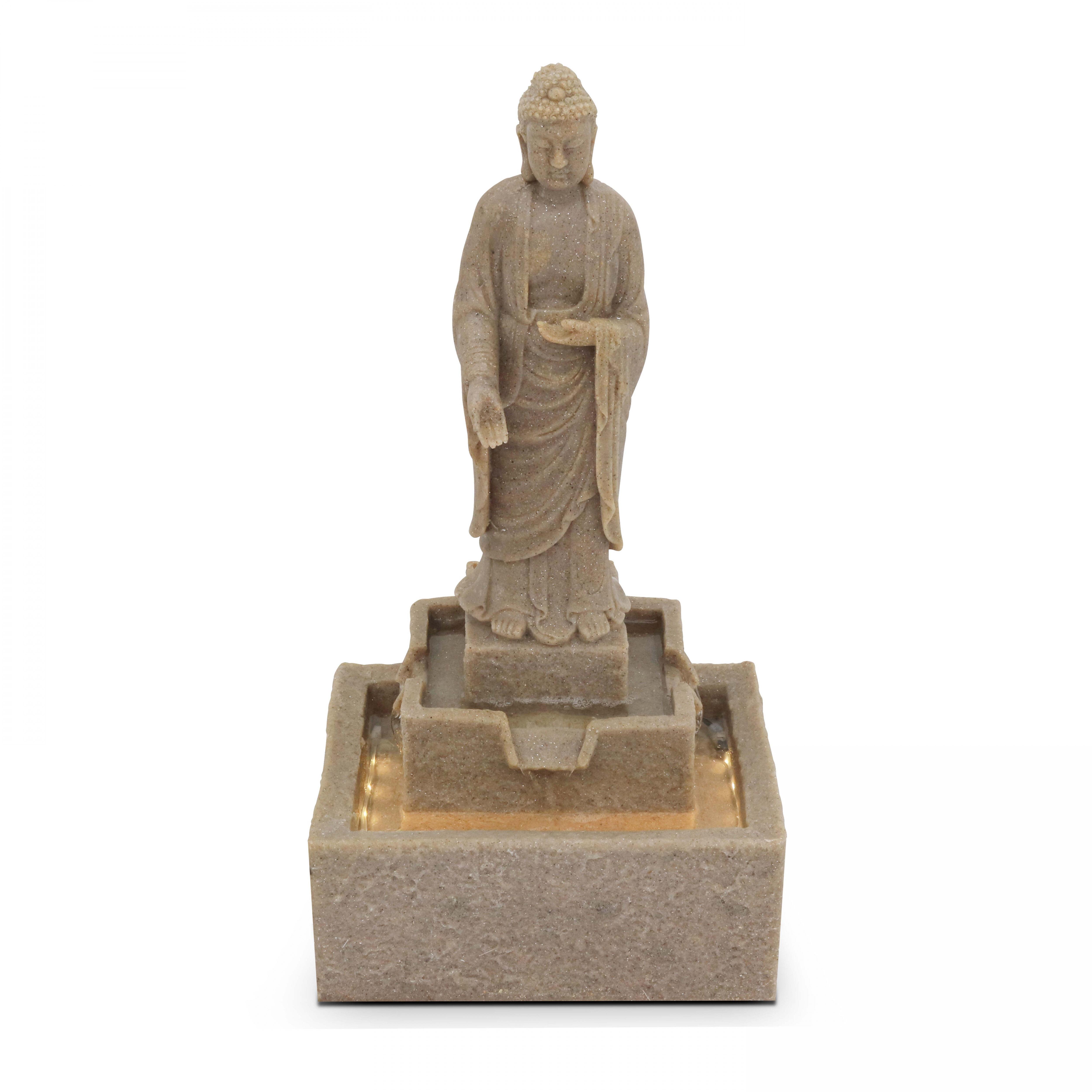 Oviala Fontaine Bouddha LED gris