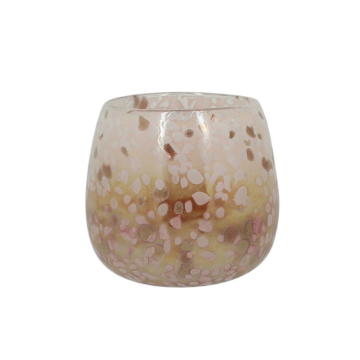 Nows Home Pot en verre soufflé rose poudré H12