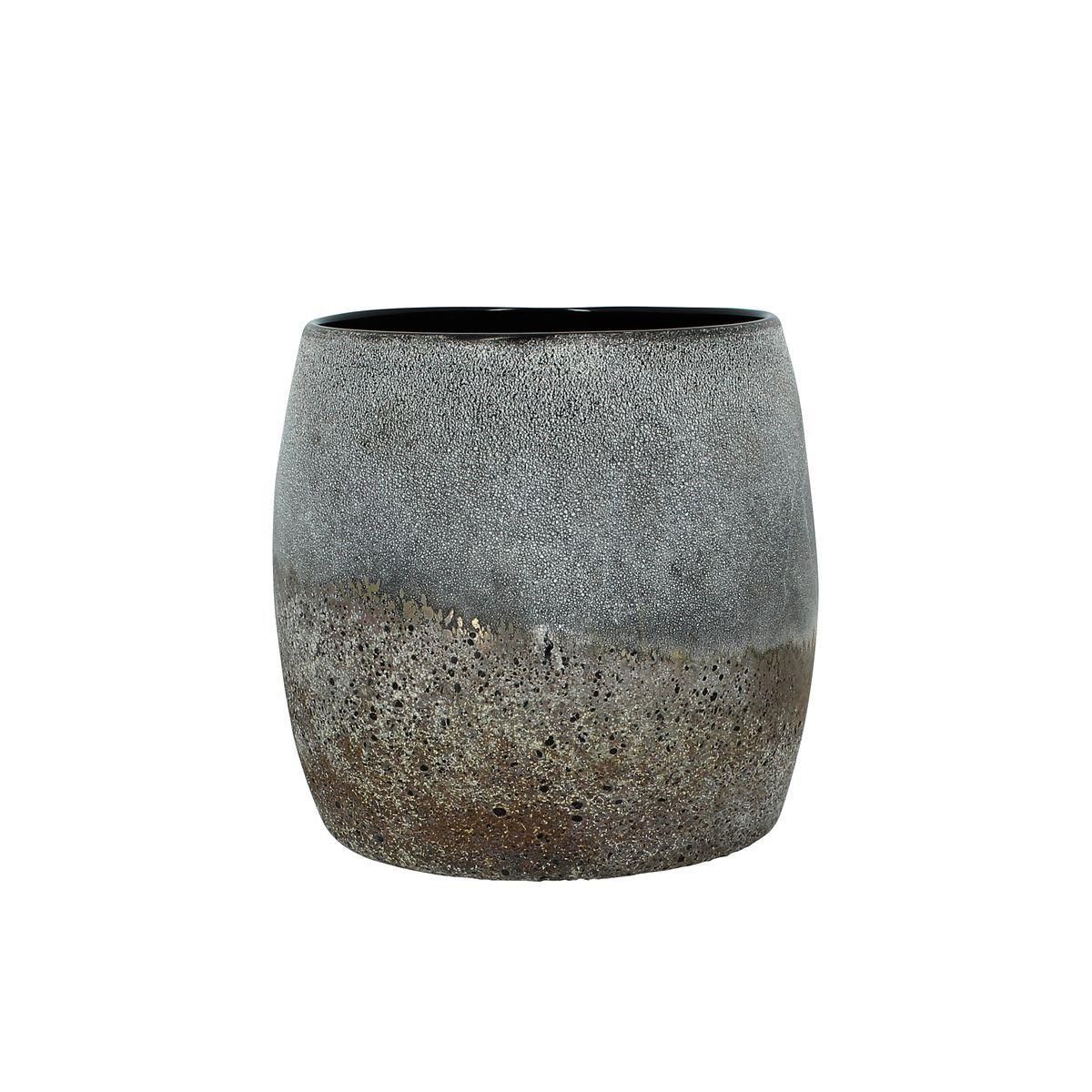 Nows Home Pot en verre gris taupe H16