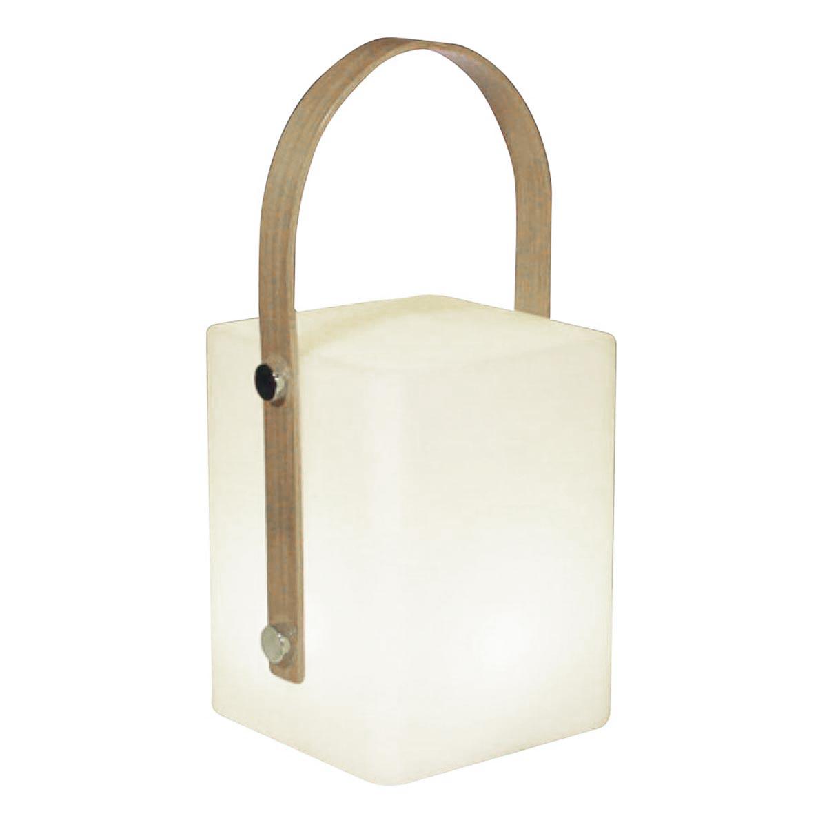 LUMISKY TIKY-Lanterne sans fil anse bambou bois blanc H25cm