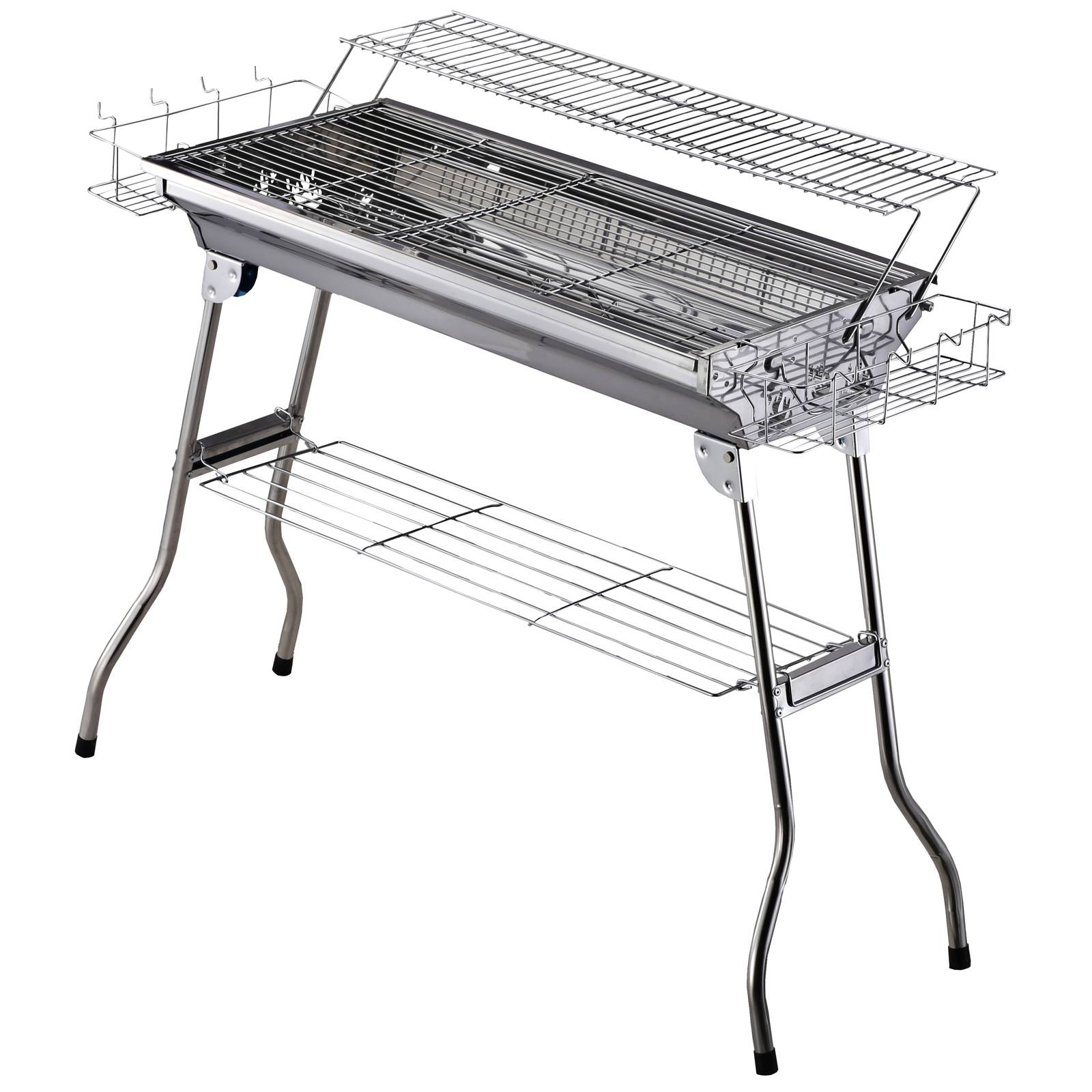 Outsunny Barbecue  charbon pliable étagre 2 grilles cuisson acier inoxydable