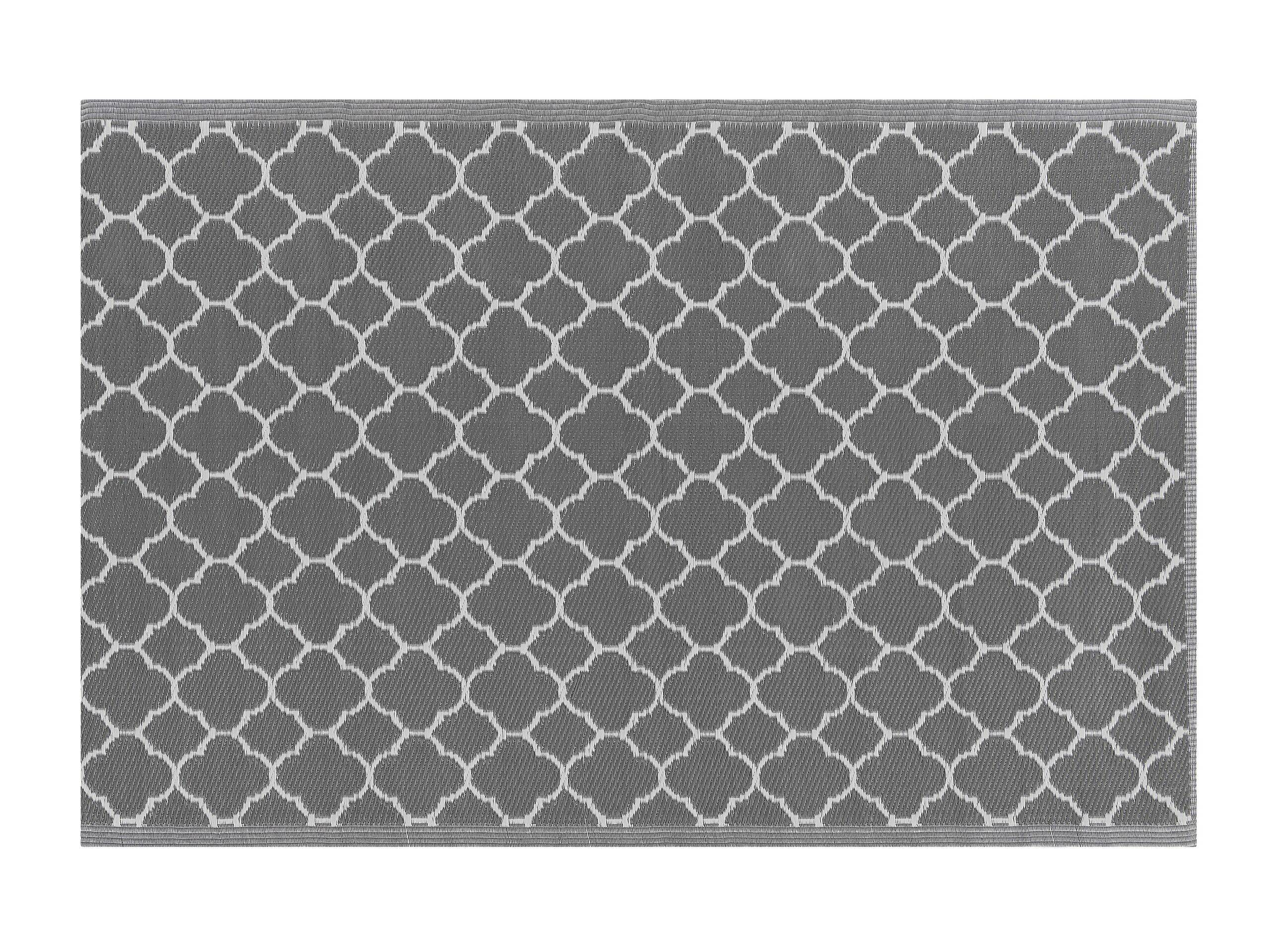 Beliani Tapis extérieur gris au motif marocain 120 x 180 cm