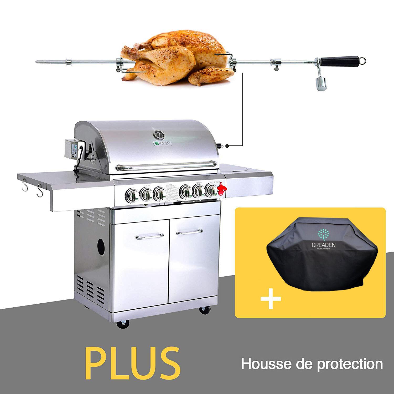 Greaden Barbecue  gaz 5 brleurs avec housse en acier inox