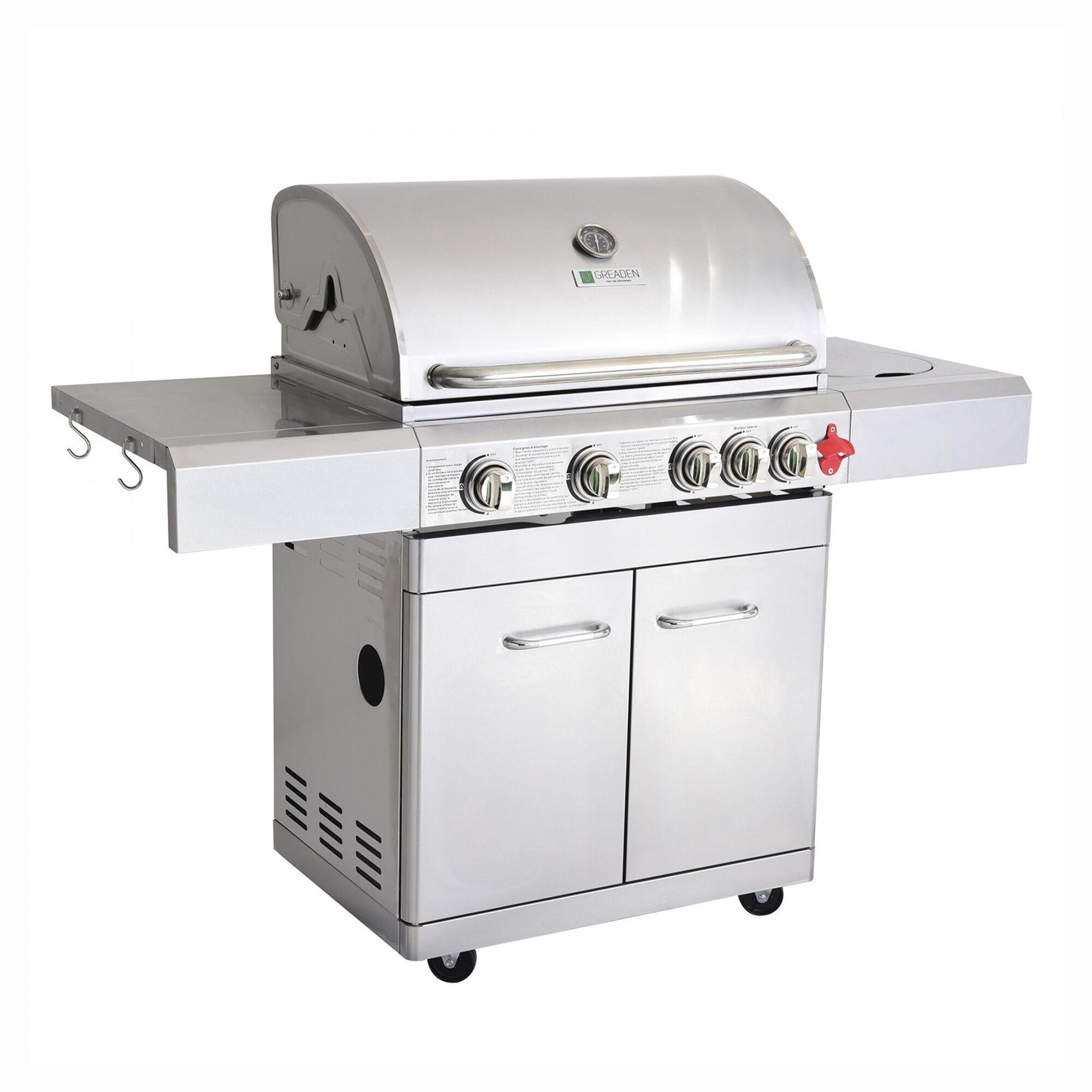 Greaden Barbecue  gaz 4 brleurs avec housse en acier inox