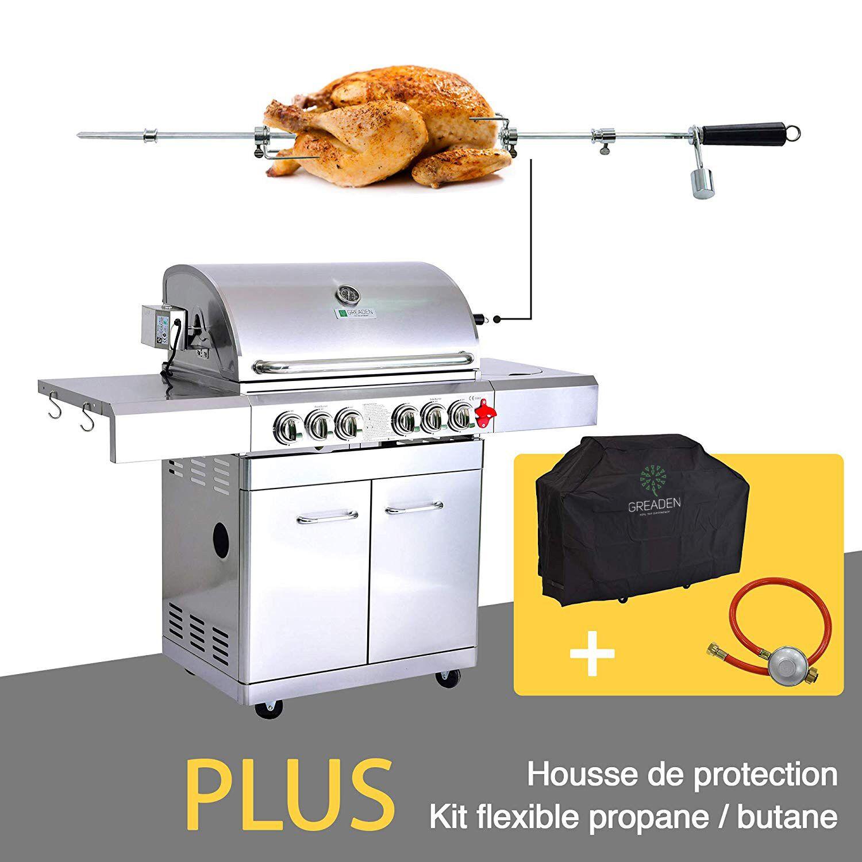 Greaden Barbecue  gaz 5 brleurs avec kit flexible et housse en acier inox