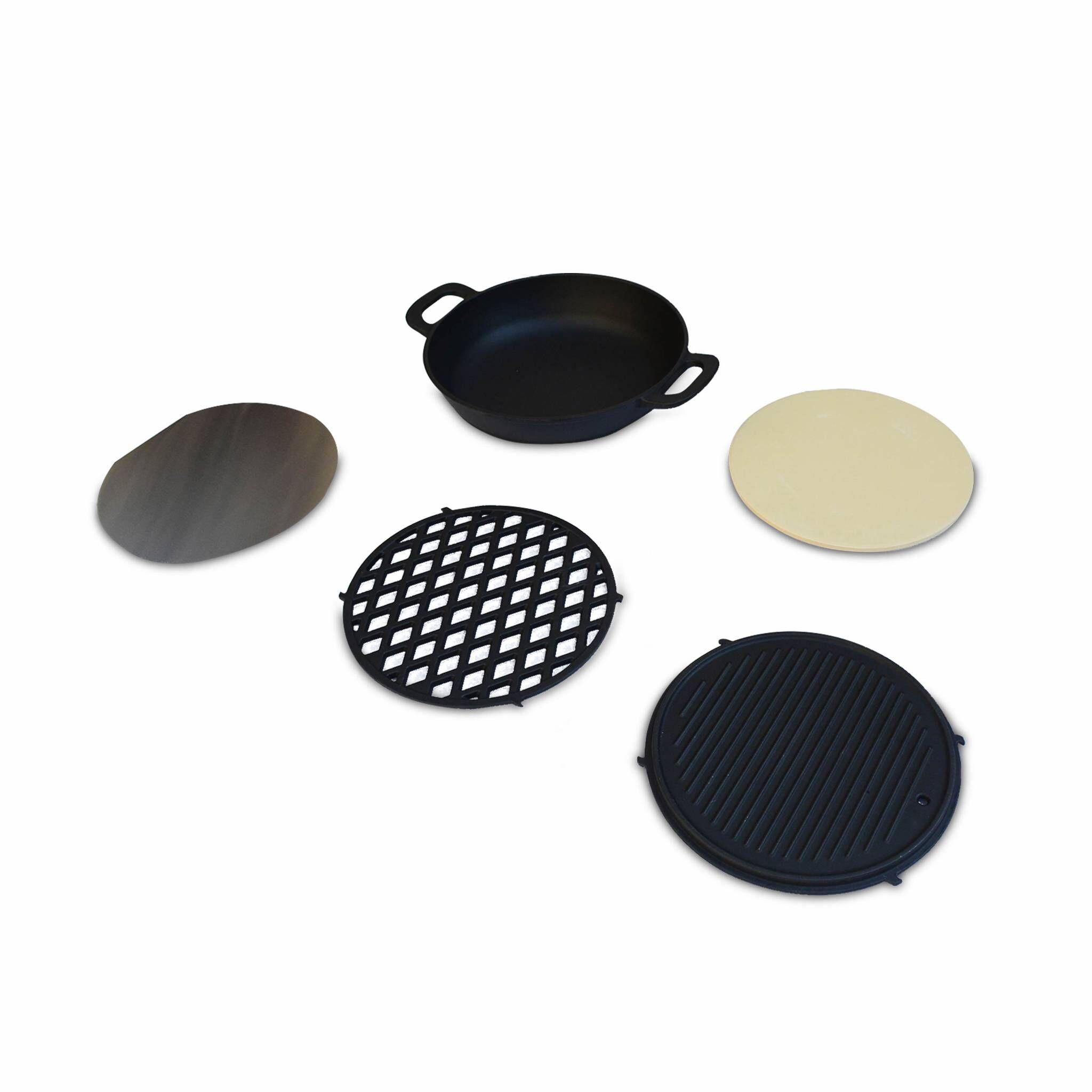 Alice's Garden Ensemble de cuisson pour barbecue  au charbon  wok grille plaque