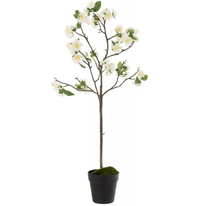 LANADECO Arbre en fleurs plastique blanc/marron H88cm