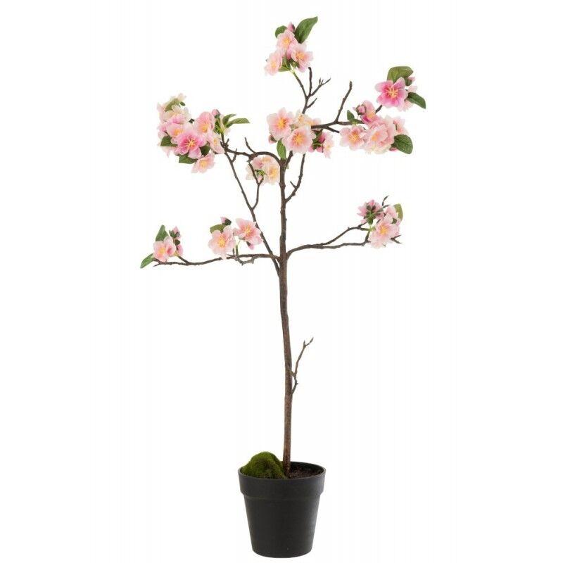 LANADECO Arbre en fleurs plastique rose/marron H90cm