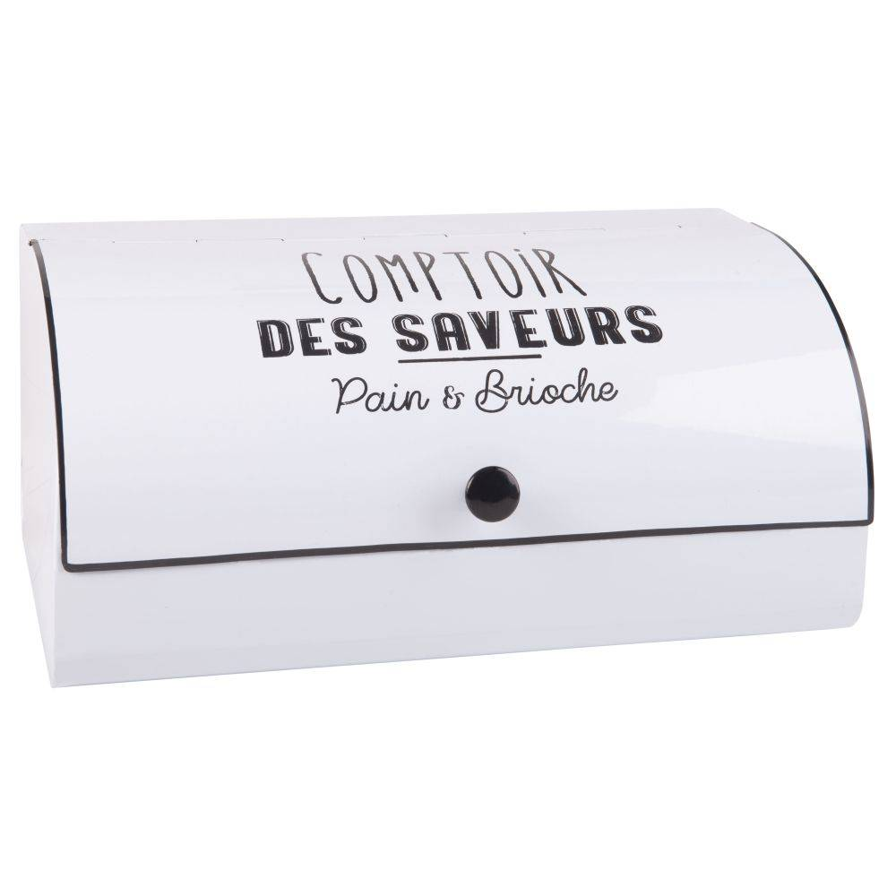 Maisons du Monde Boîte à pain en métal blanc imprimé noir