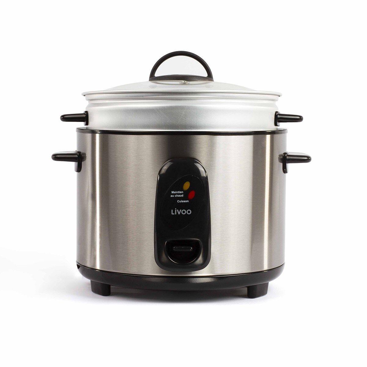 Livoo Cuiseur  riz et vapeur 2,8L en Acier inoxydable Gris