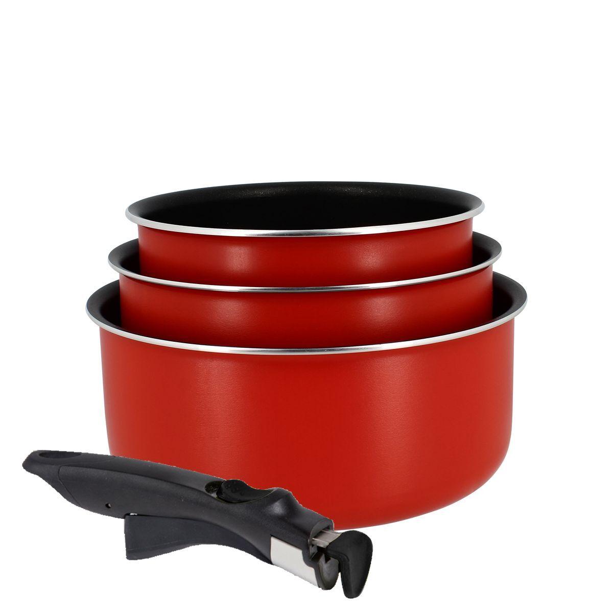 Menastyl Set de 3 casseroles non induction poignée amovible en acier inoxydable