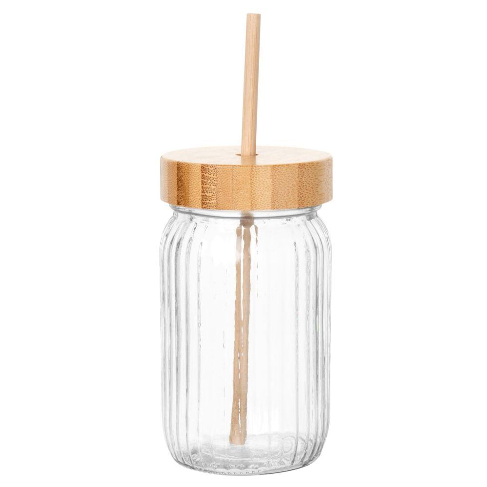 Maisons du Monde Bocal en verre strié et bambou avec paille